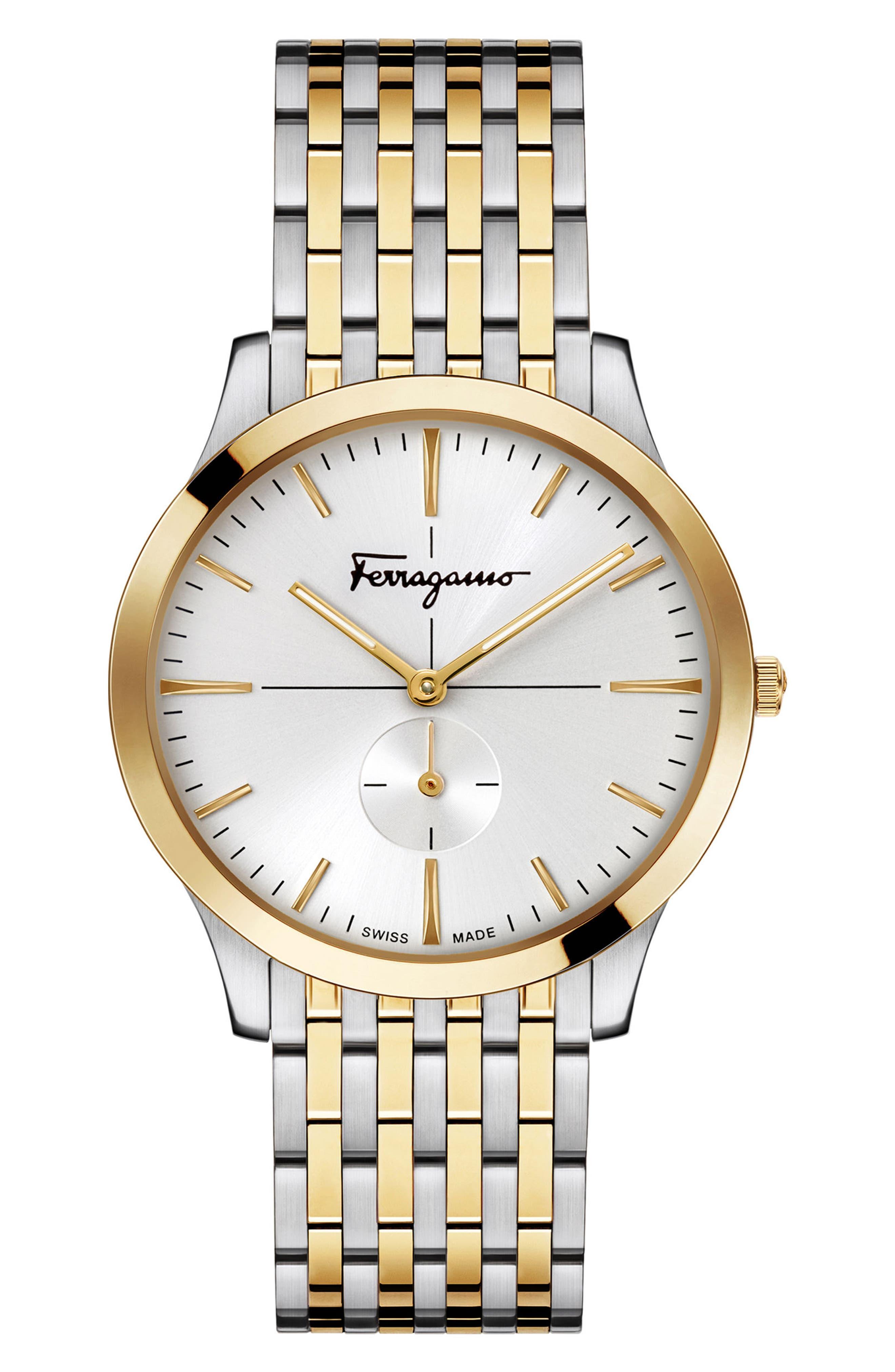 Slim Formal Bracelet Watch, 40mm,                             Main thumbnail 1, color,                             Silver/ Gold