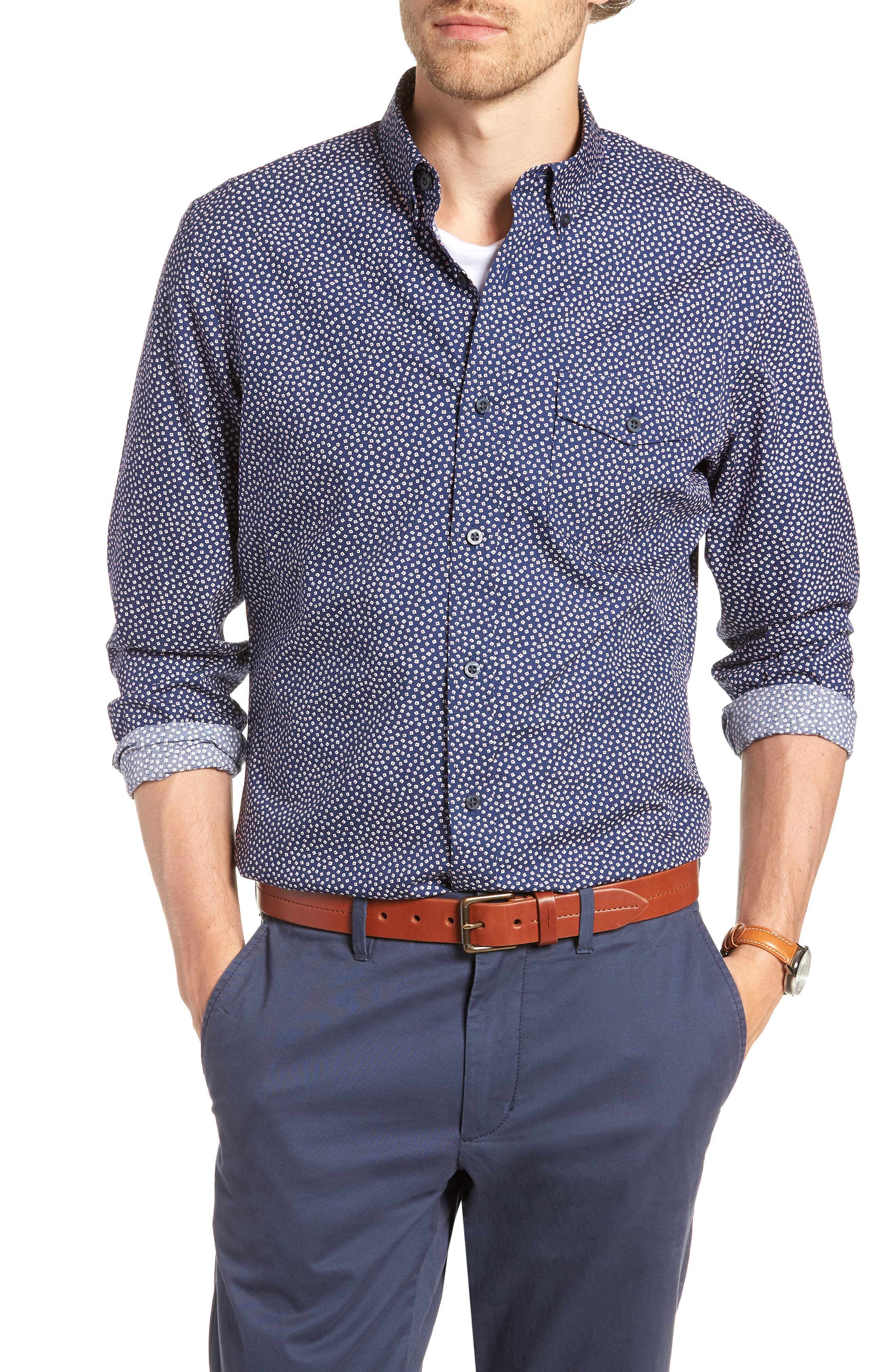 Ivy Trim Fit Print Sport Shirt,                         Main,                         color, Navy Iris Tossed Squares