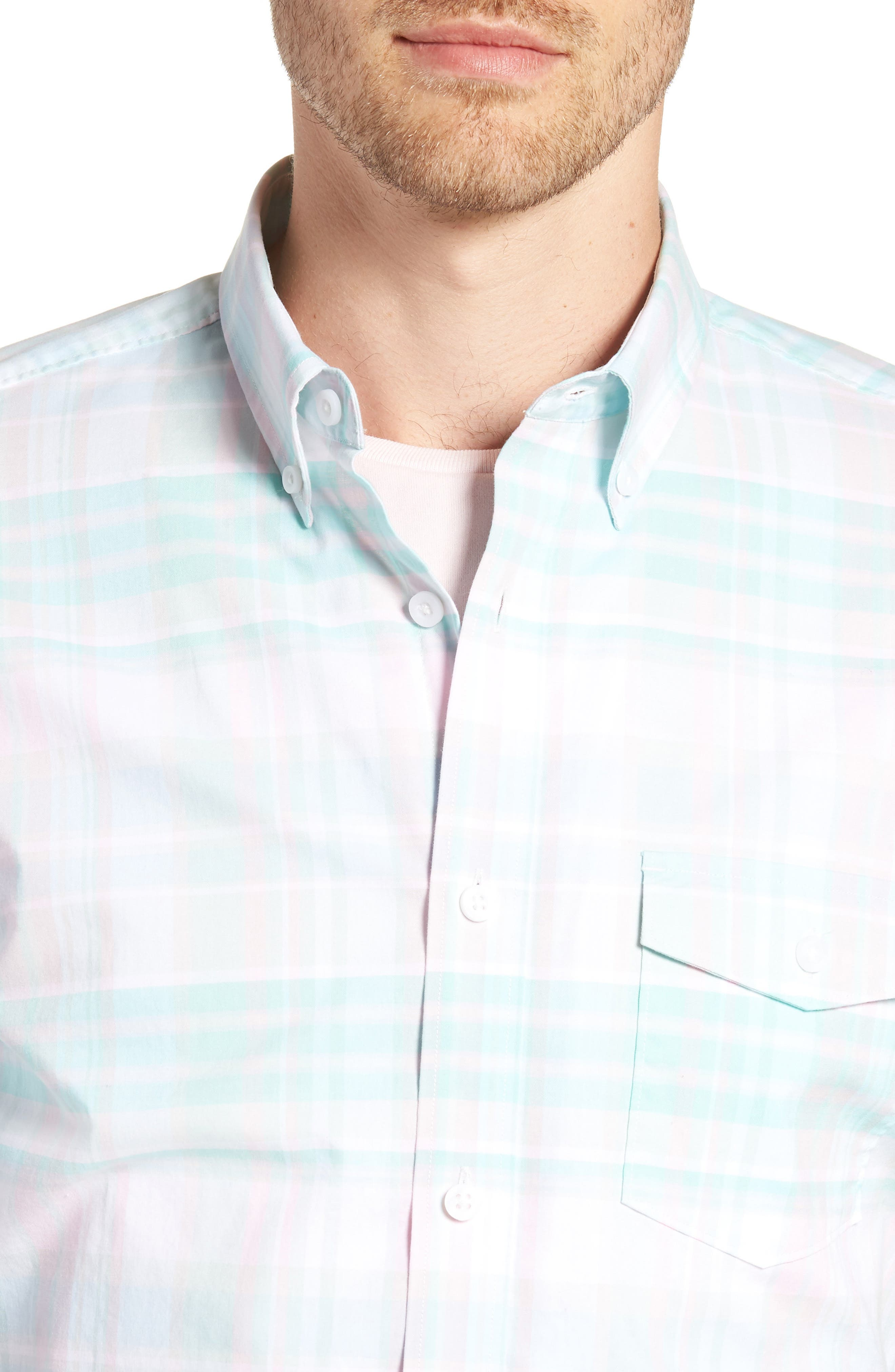 Trim Fit Plaid Short Sleeve Sport Shirt,                             Alternate thumbnail 2, color,                             Green Largo Pink Plaid