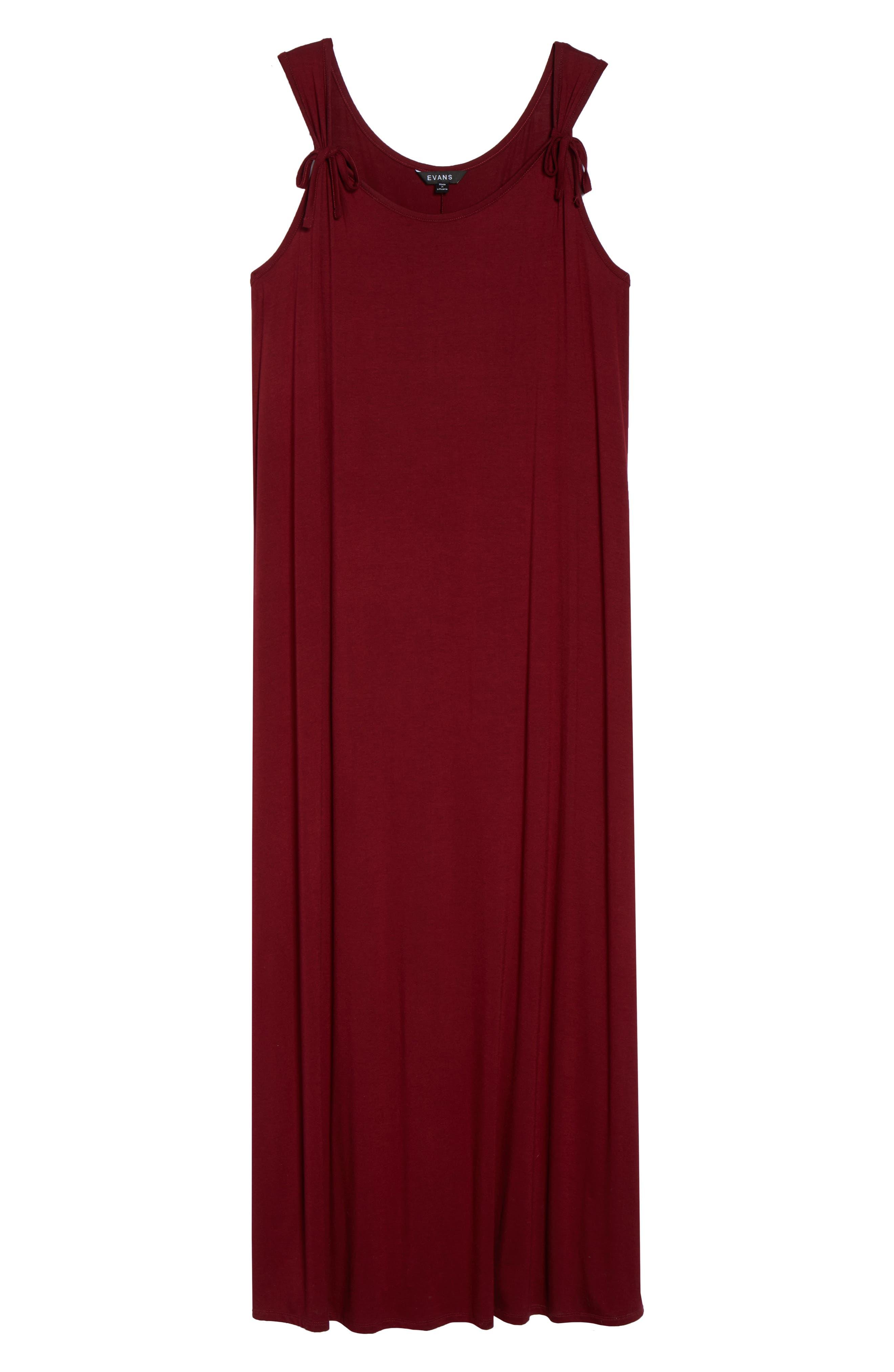 Tie Strap Knit Maxi Dress,                             Alternate thumbnail 7, color,                             Wine