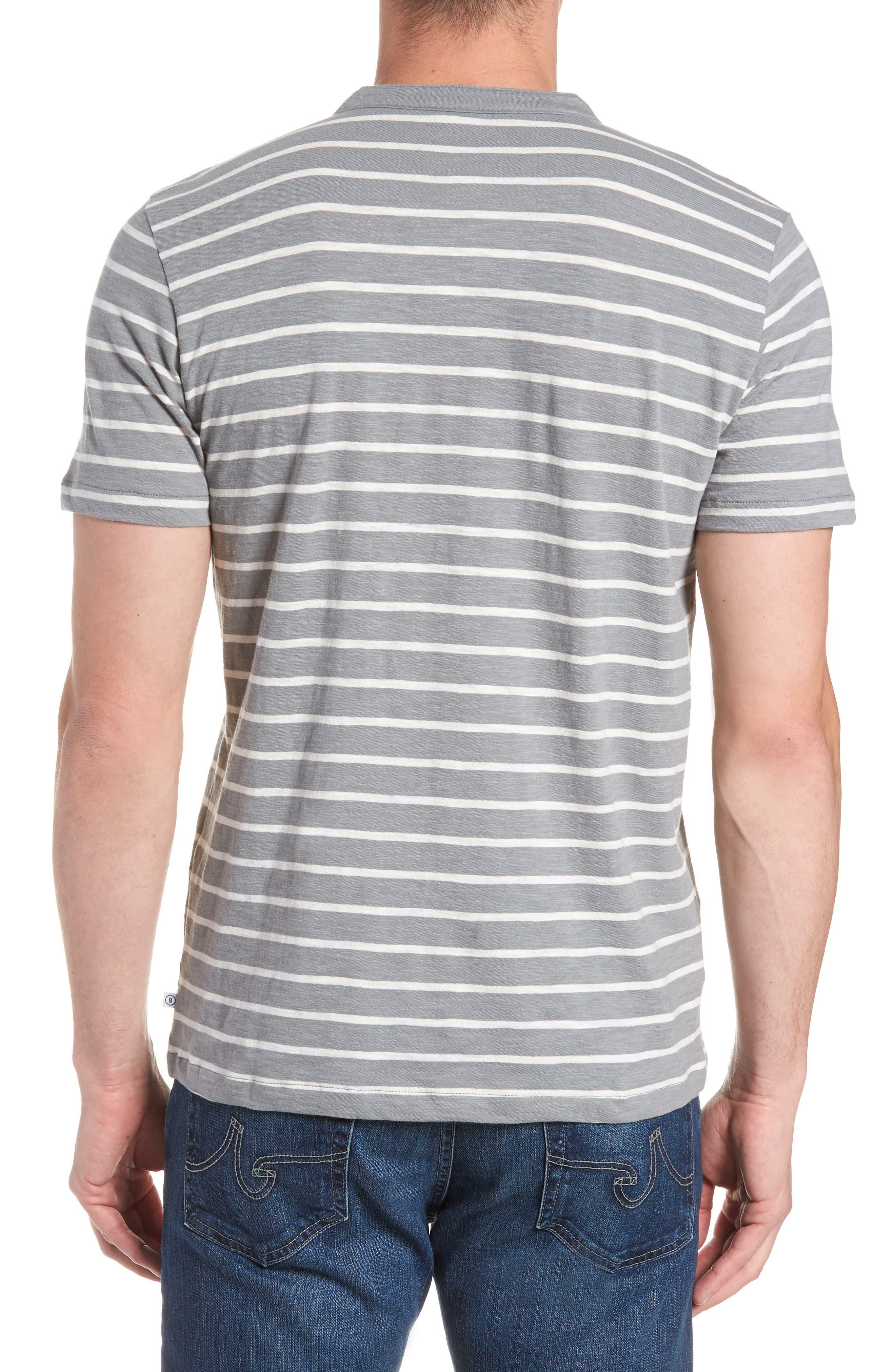 Slim Fit Stripe Henley T-Shirt,                             Alternate thumbnail 2, color,                             Sterling/ Seashell