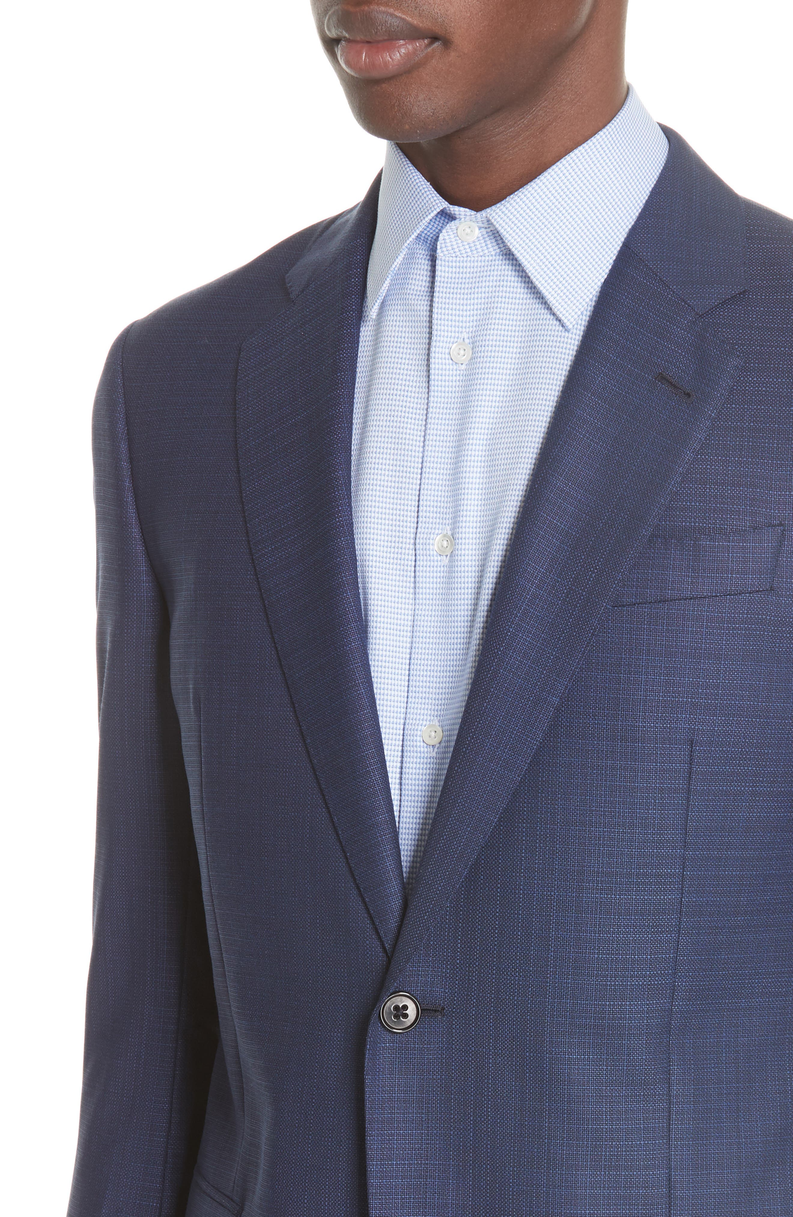 G Line Trim Fit Wool Blazer,                             Alternate thumbnail 4, color,                             Blue