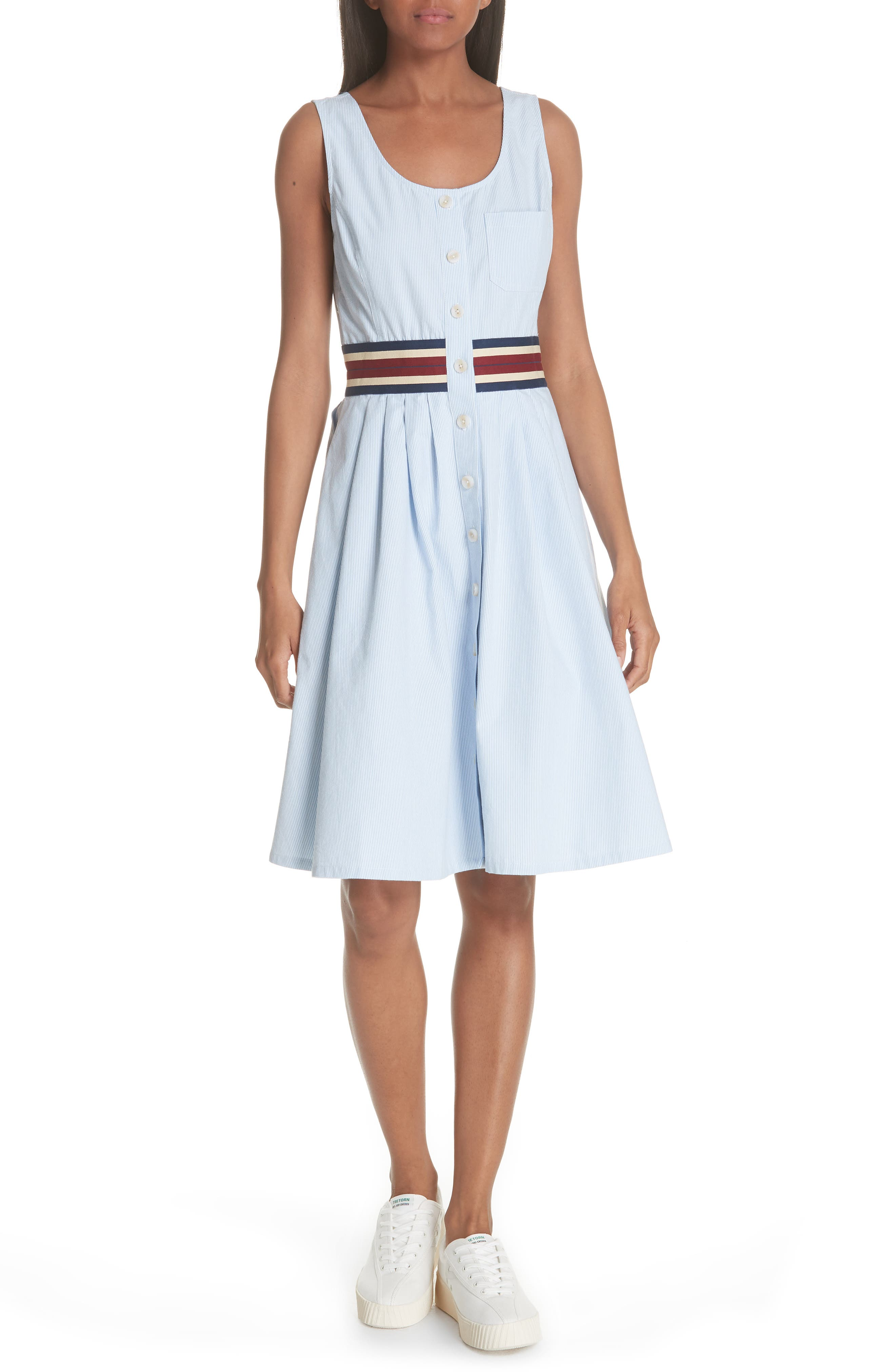Seersucker Fit & Flare Dress,                             Main thumbnail 1, color,                             Chambray Blue