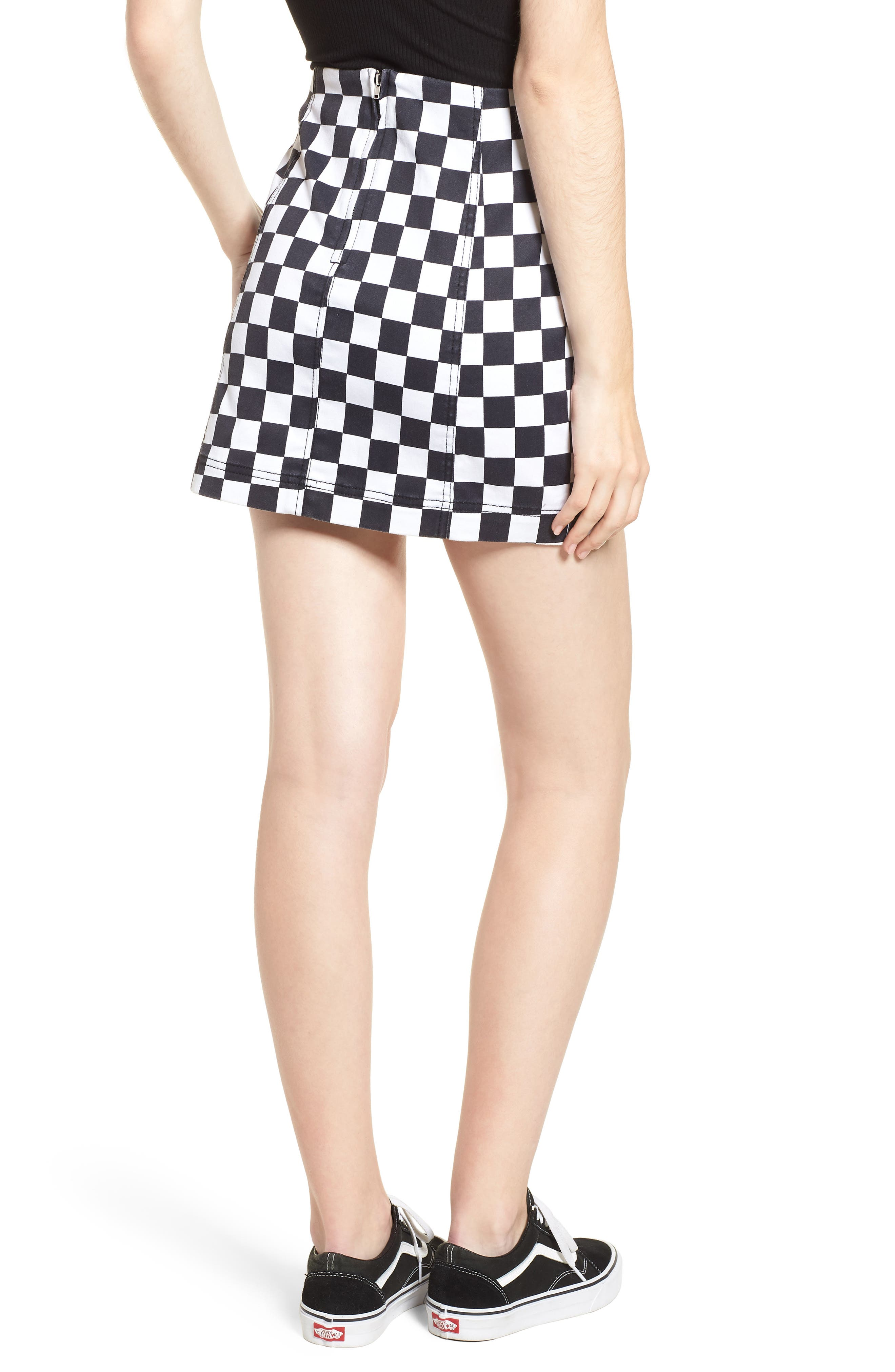 Checkered Denim Miniskirt,                             Alternate thumbnail 2, color,                             Black/ White Checkered
