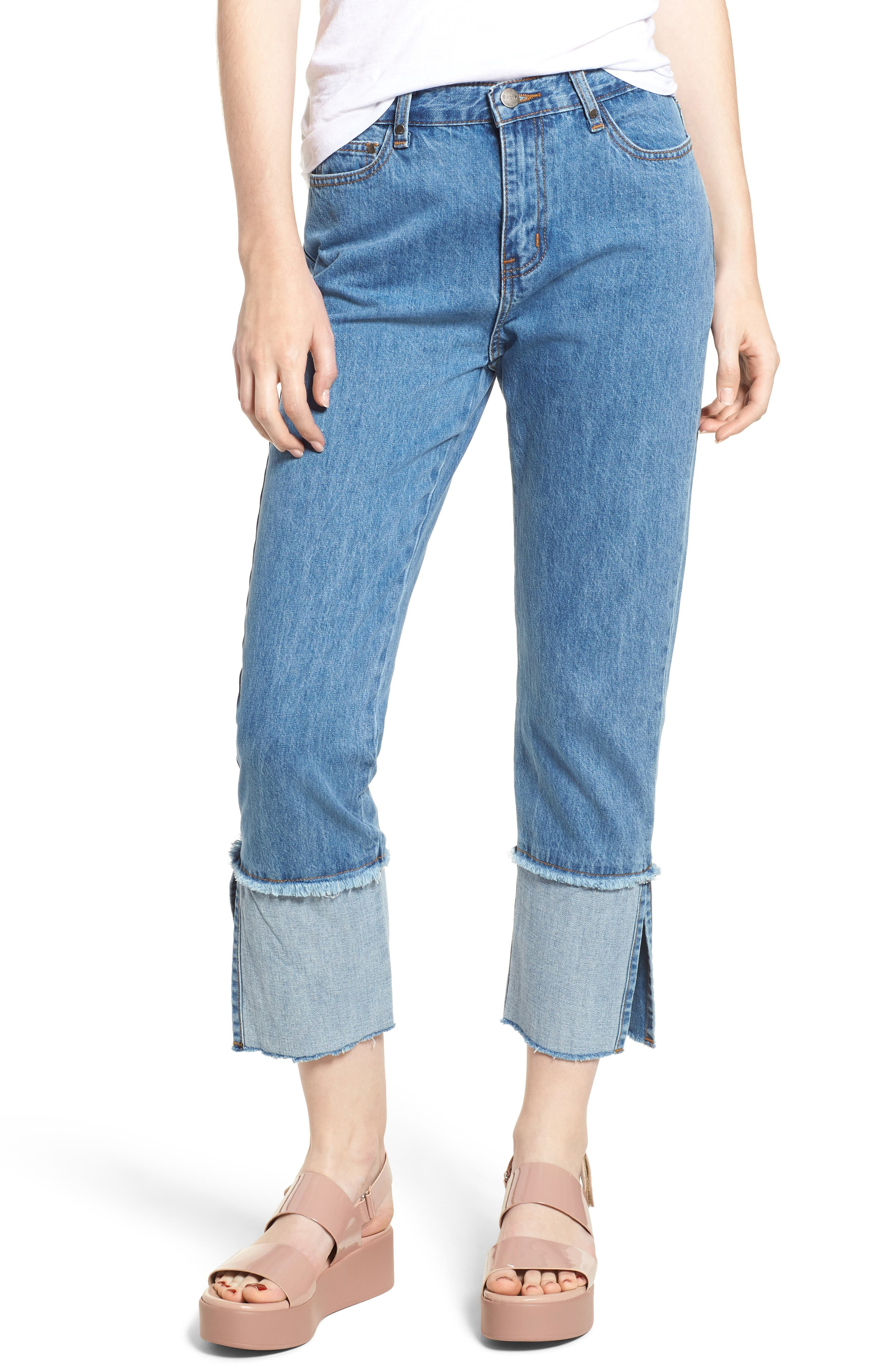 Cuffed Raw Hem Crop Jeans,                             Main thumbnail 1, color,                             Fairfax