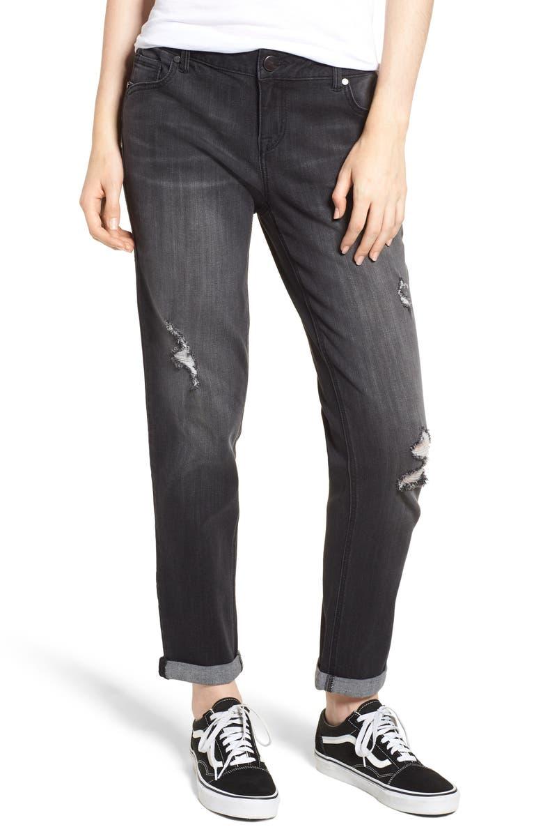 Distressed Roll Hem Girlfriend Jeans