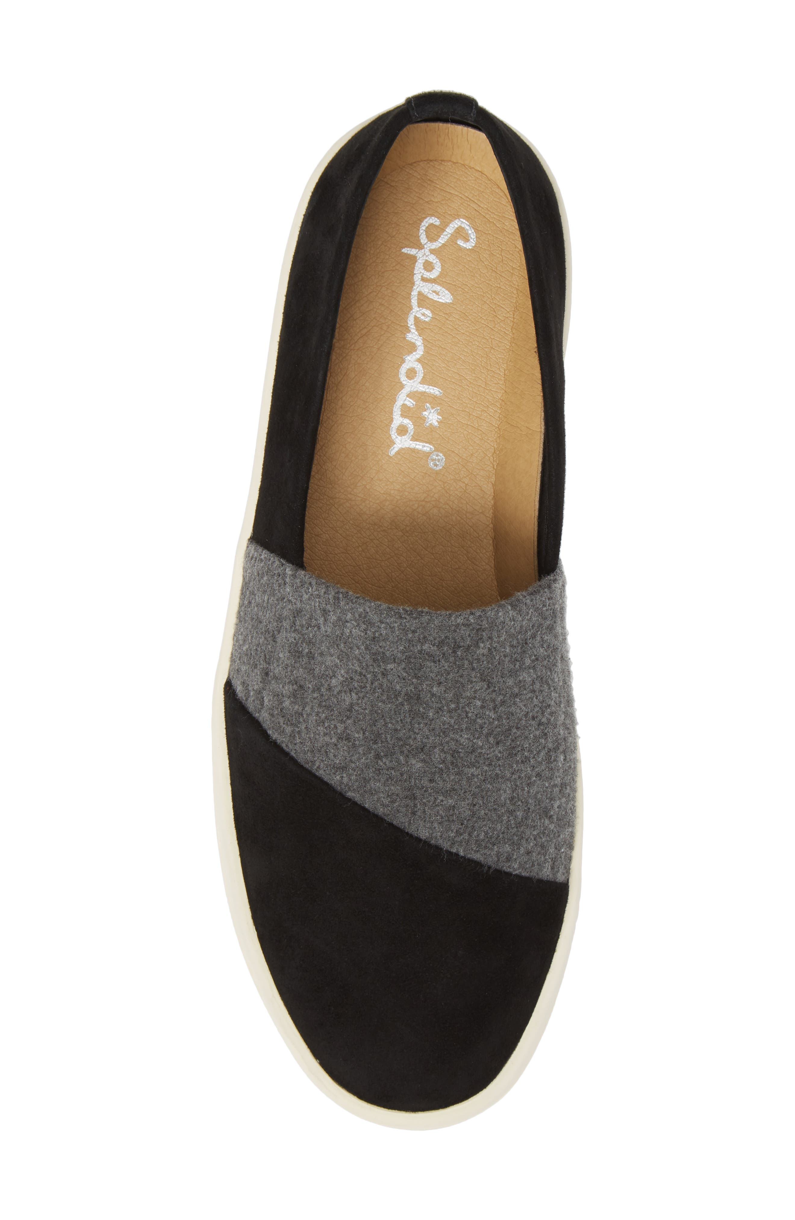 Nouvel Slip-On Sneaker,                             Alternate thumbnail 5, color,                             Black/ Grey Suede