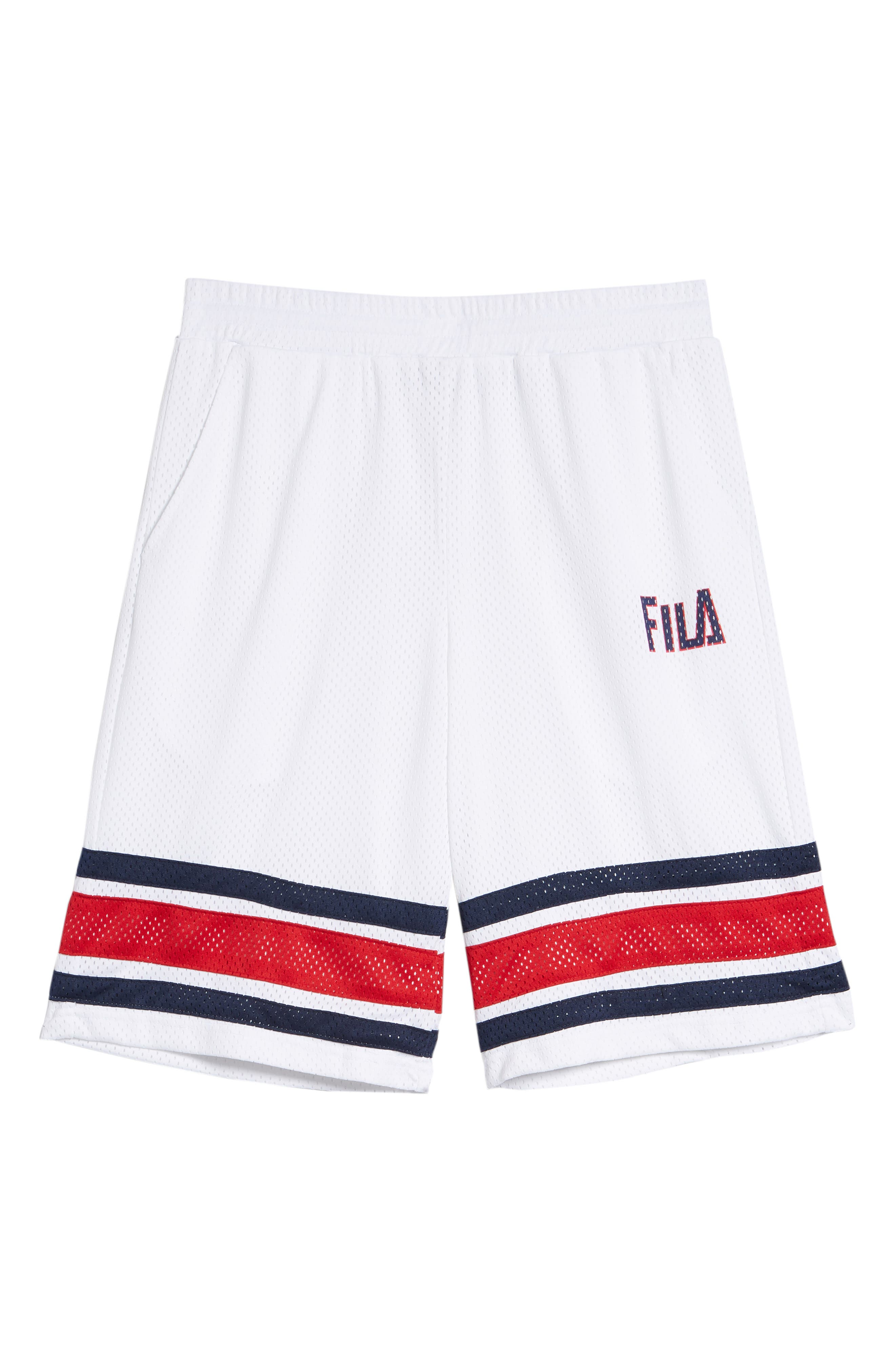 Parker Basketball Shorts,                             Alternate thumbnail 6, color,                             White/ Peacoat/ Chinese Red