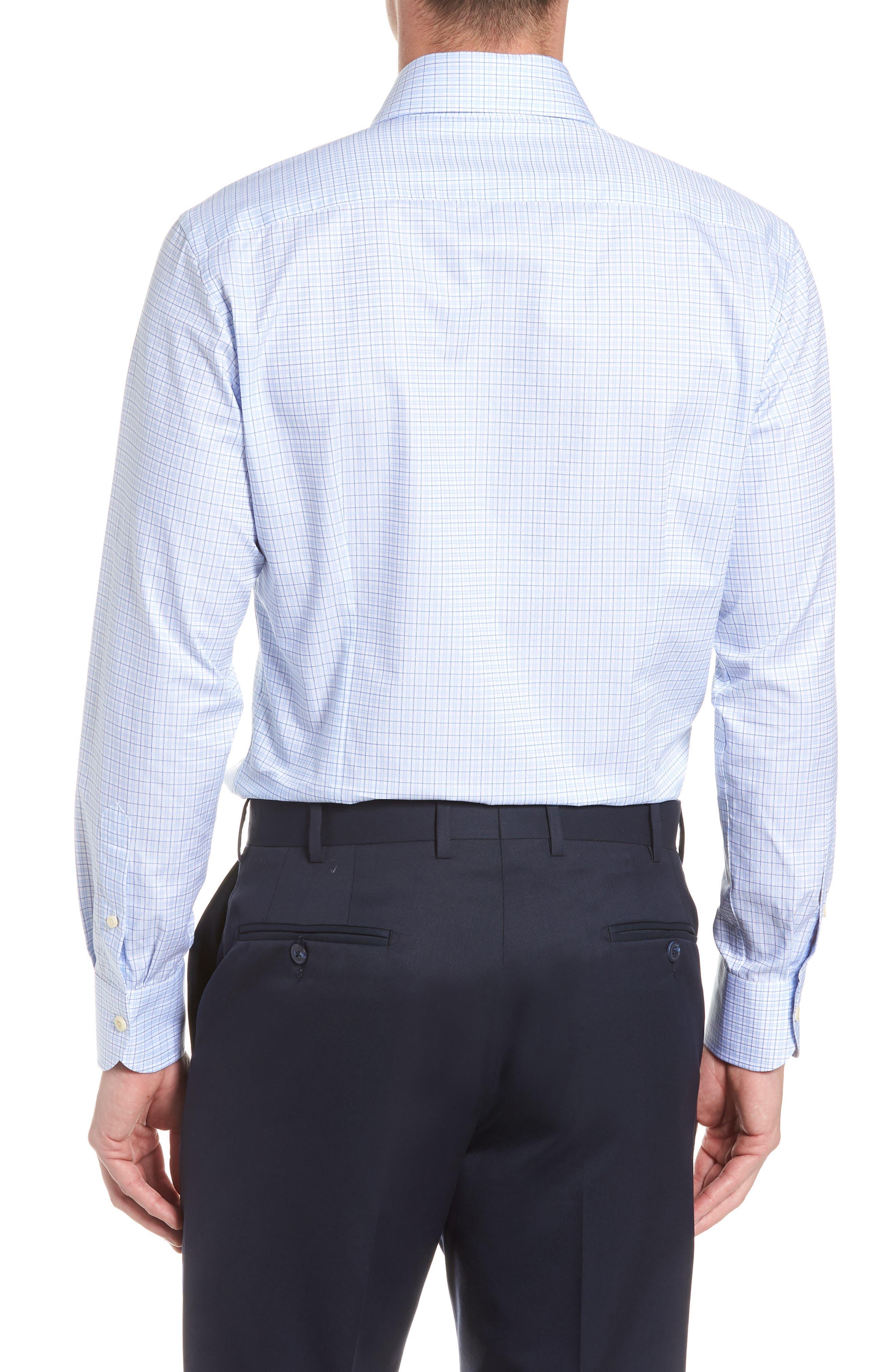 Moorland Trim Fit Check Dress Shirt,                             Alternate thumbnail 3, color,                             Blue