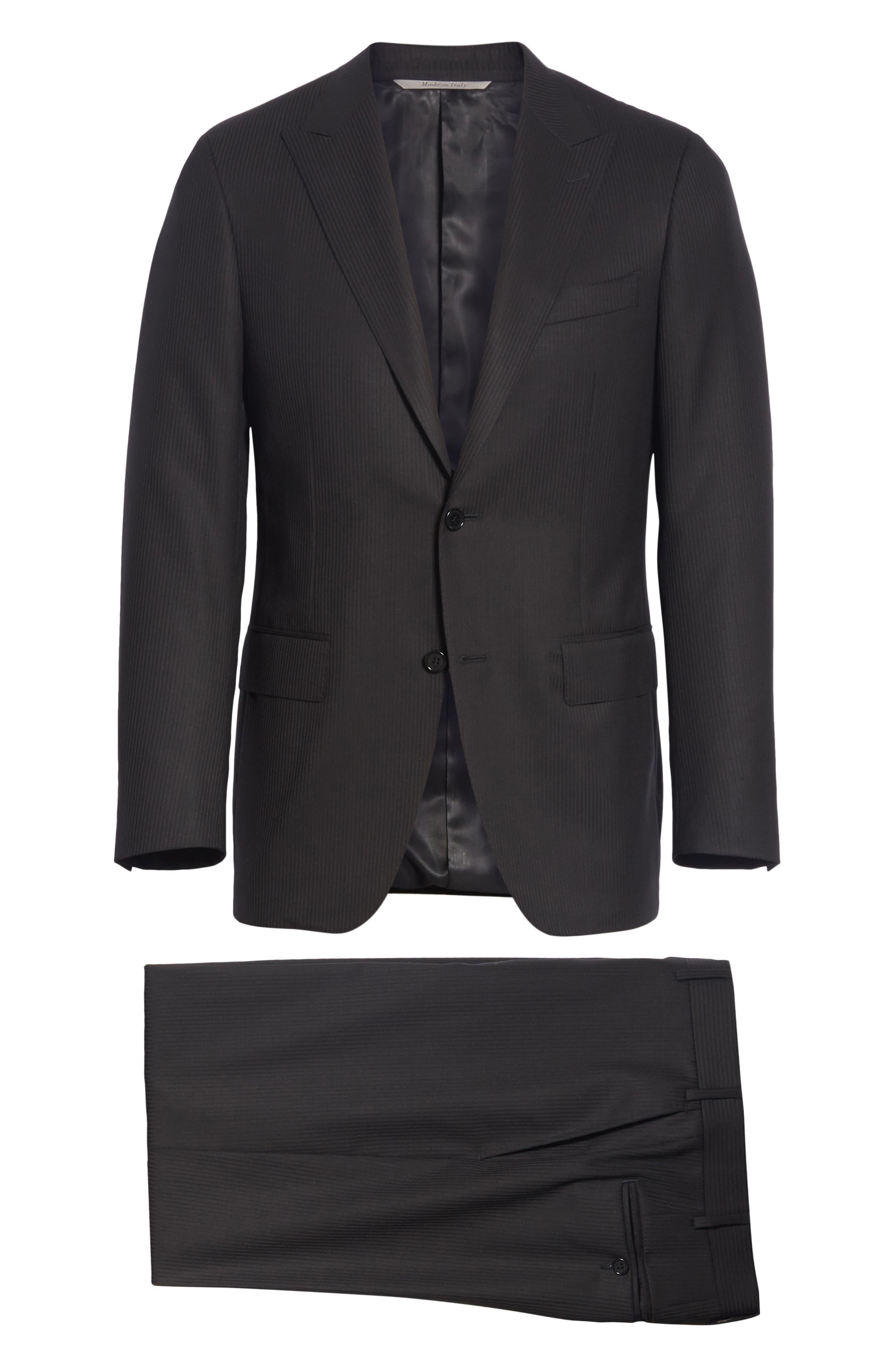 Siena Classic Fit Stripe Wool Suit,                             Alternate thumbnail 7, color,                             Black