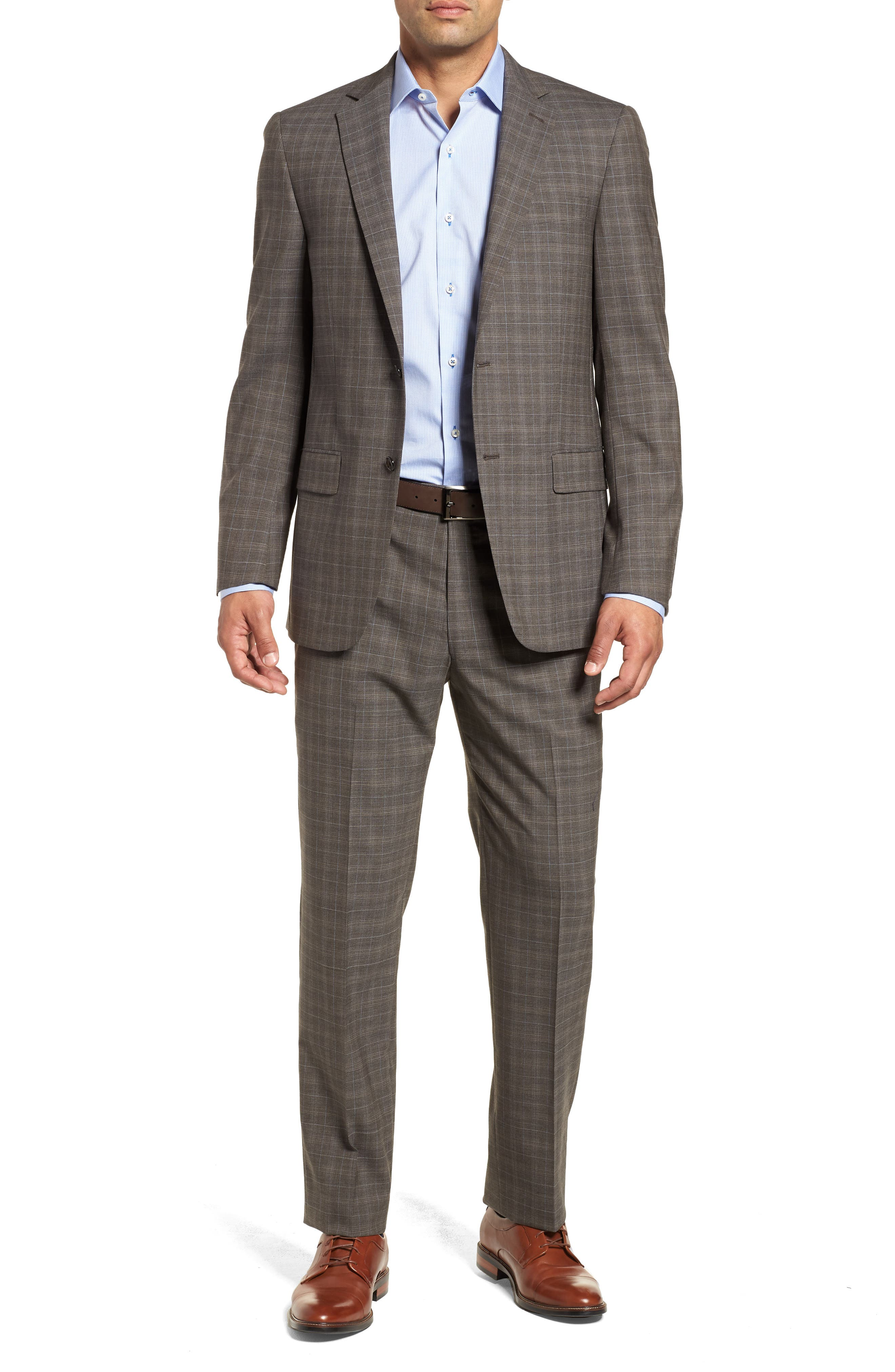 Classic Fit Plaid Stretch Wool Suit,                             Main thumbnail 1, color,                             Brown