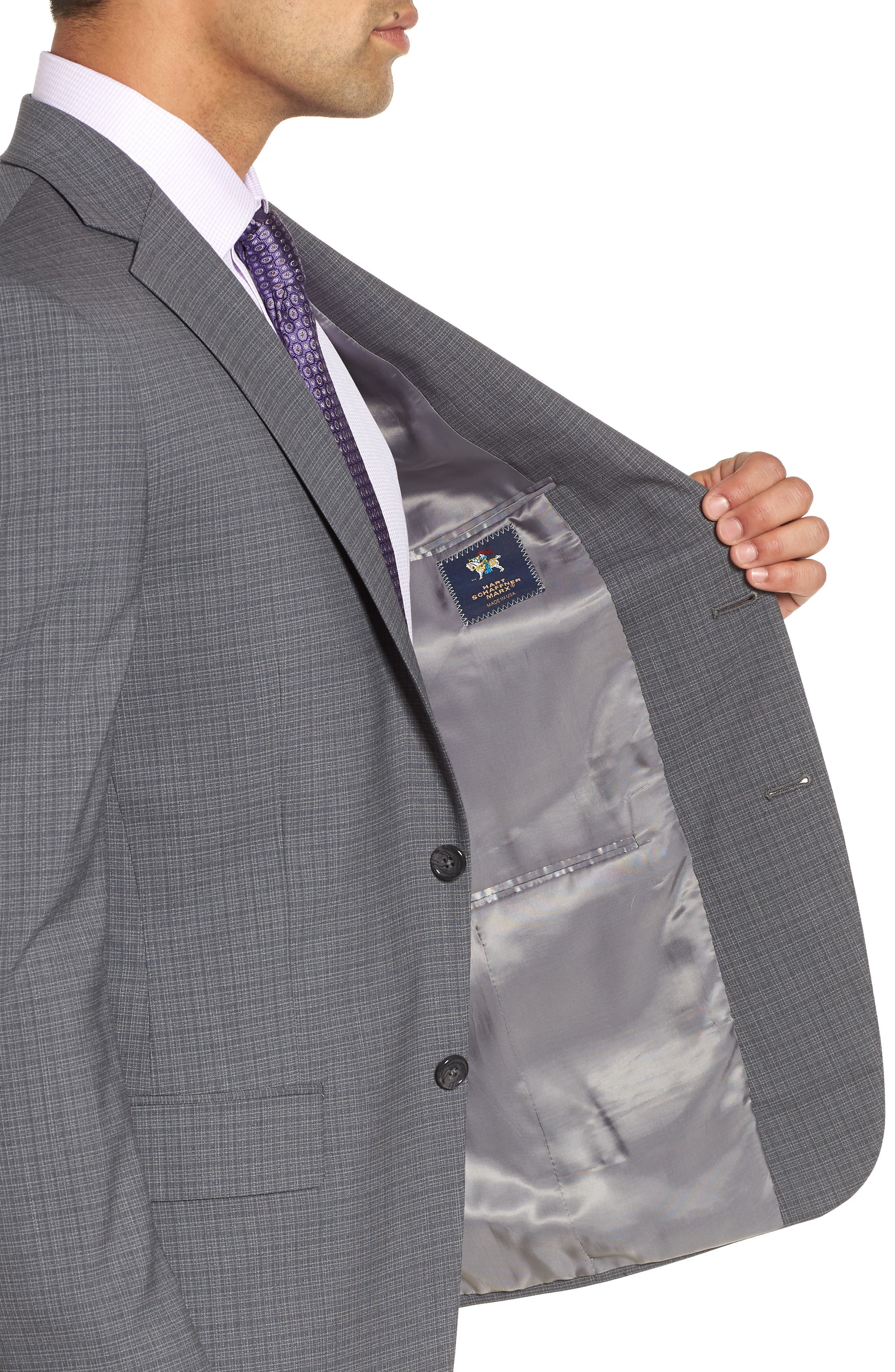 Classic Fit Stretch Plaid Wool Suit,                             Alternate thumbnail 4, color,                             Grey Plaid