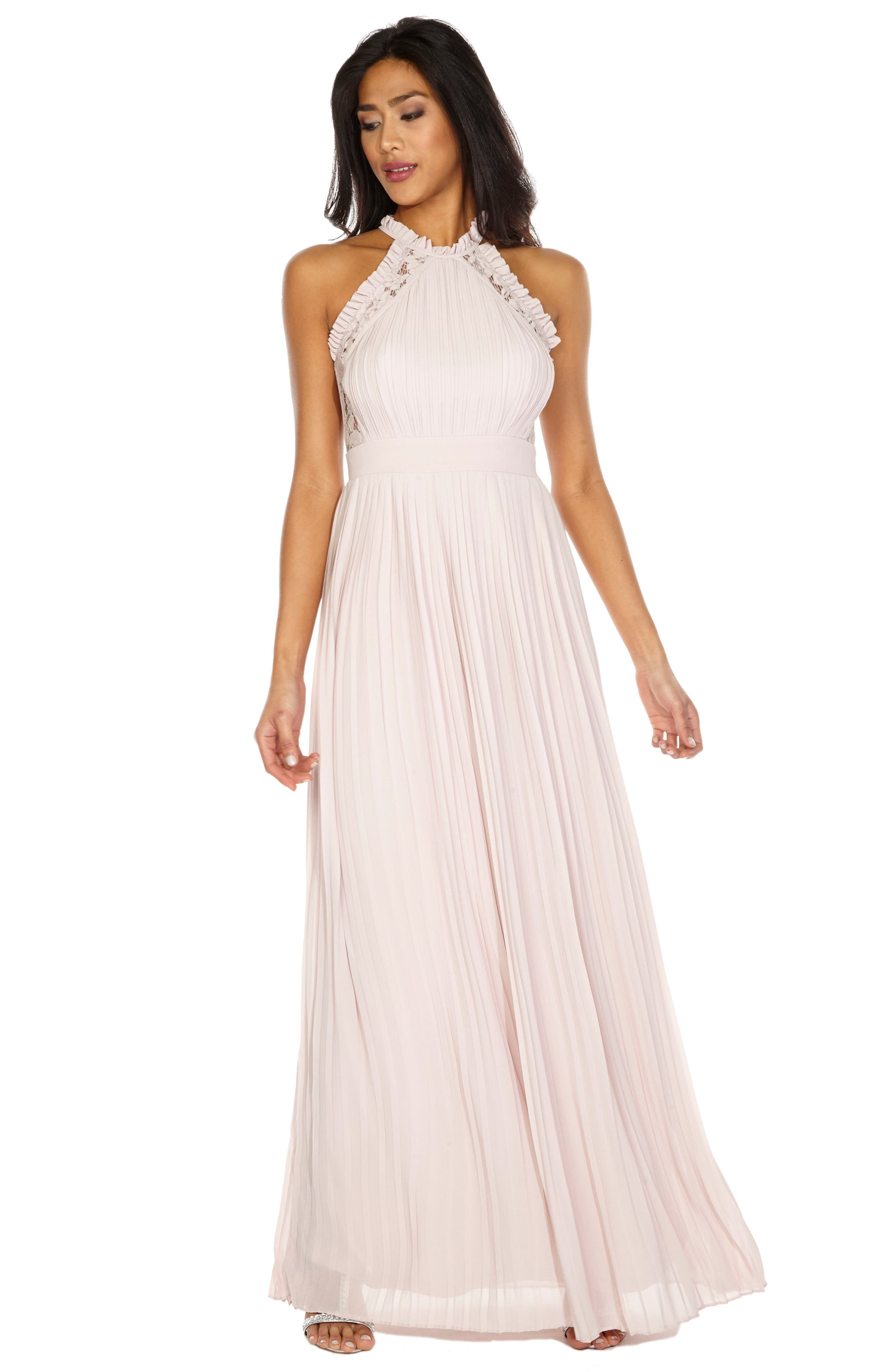 Dousha Pleated Halter Gown,                             Alternate thumbnail 3, color,                             Mink