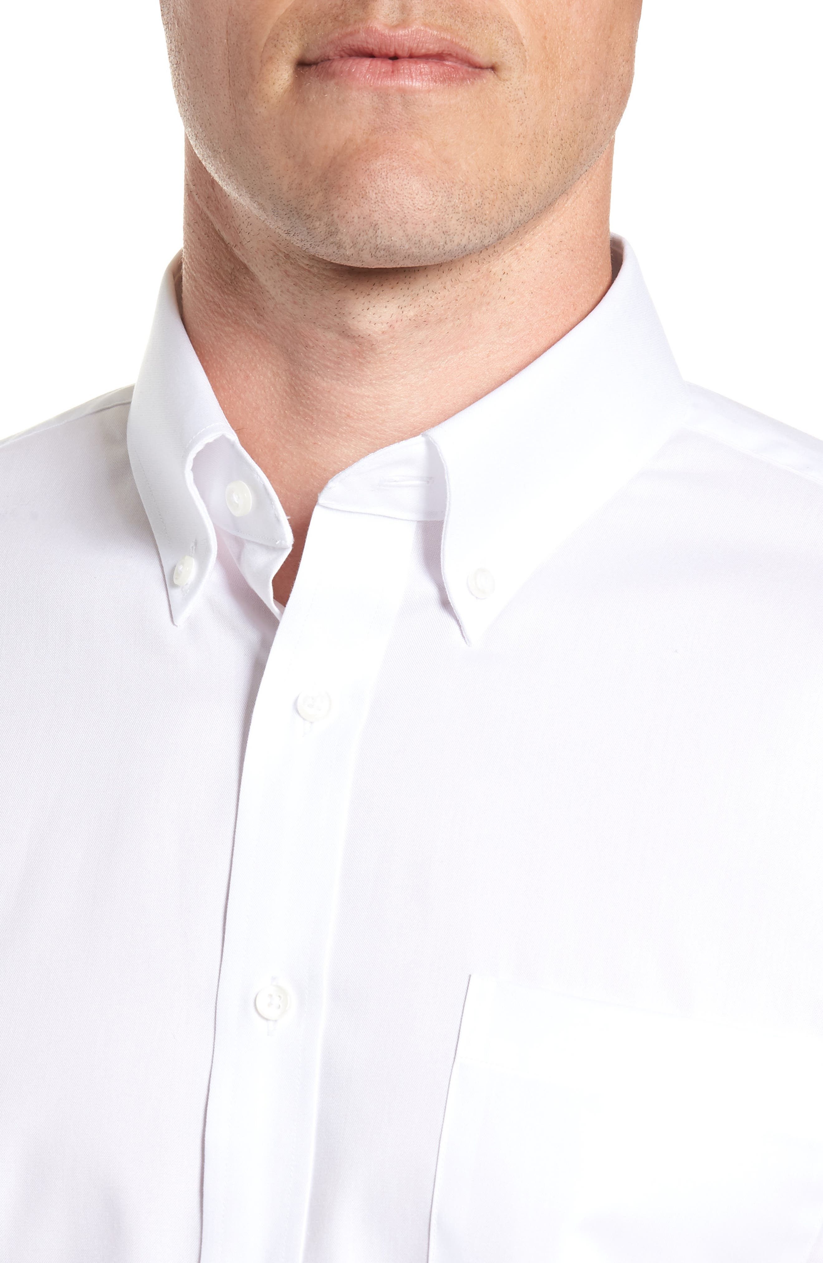 Trim Fit Non-Iron Dress Shirt,                             Alternate thumbnail 2, color,                             White