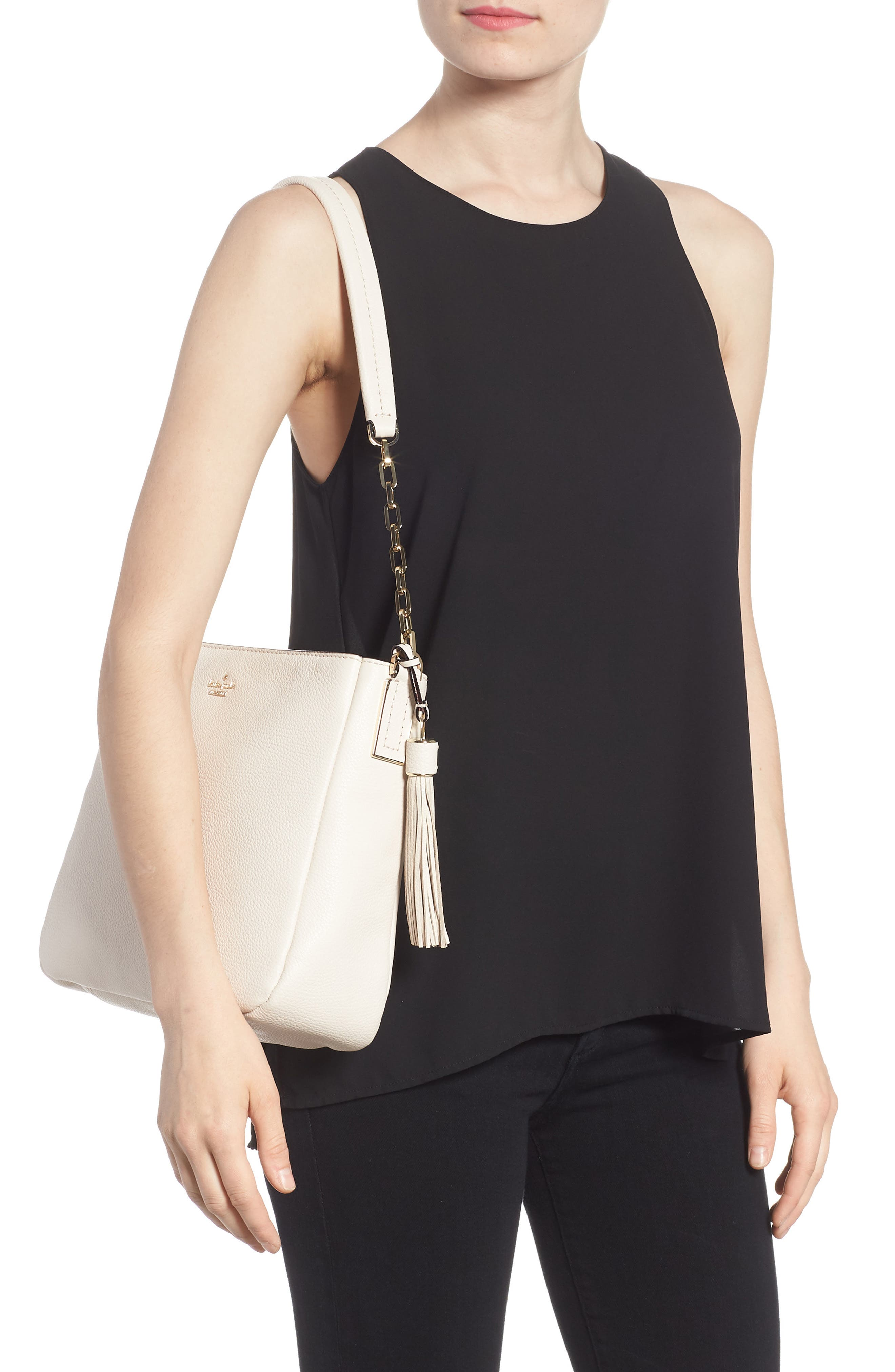 kingston drive - shannon leather shoulder bag,                             Alternate thumbnail 2, color,                             Bleach Bone
