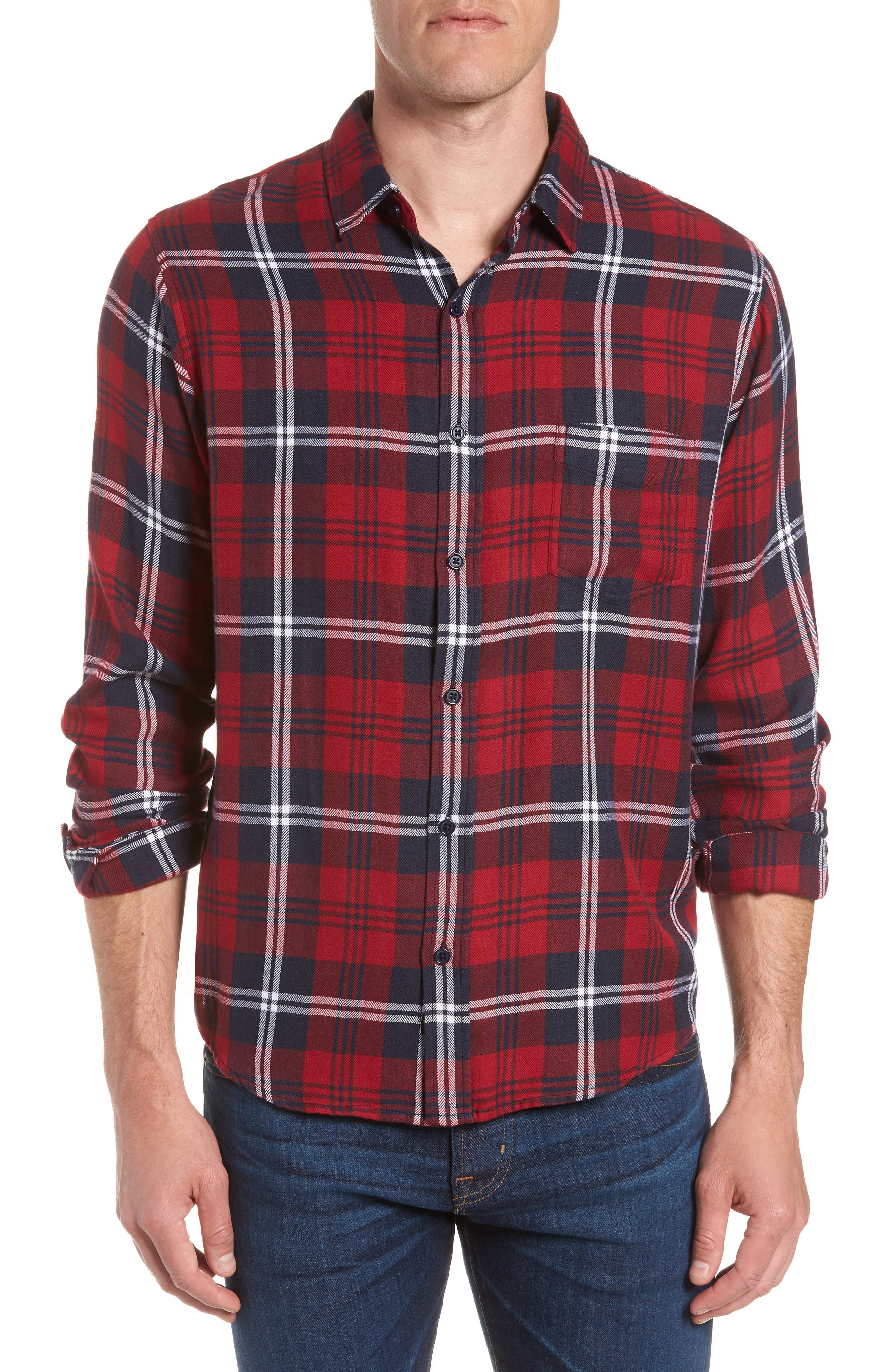 Lennox Sport Shirt,                             Main thumbnail 1, color,                             Red/ Navy/ White
