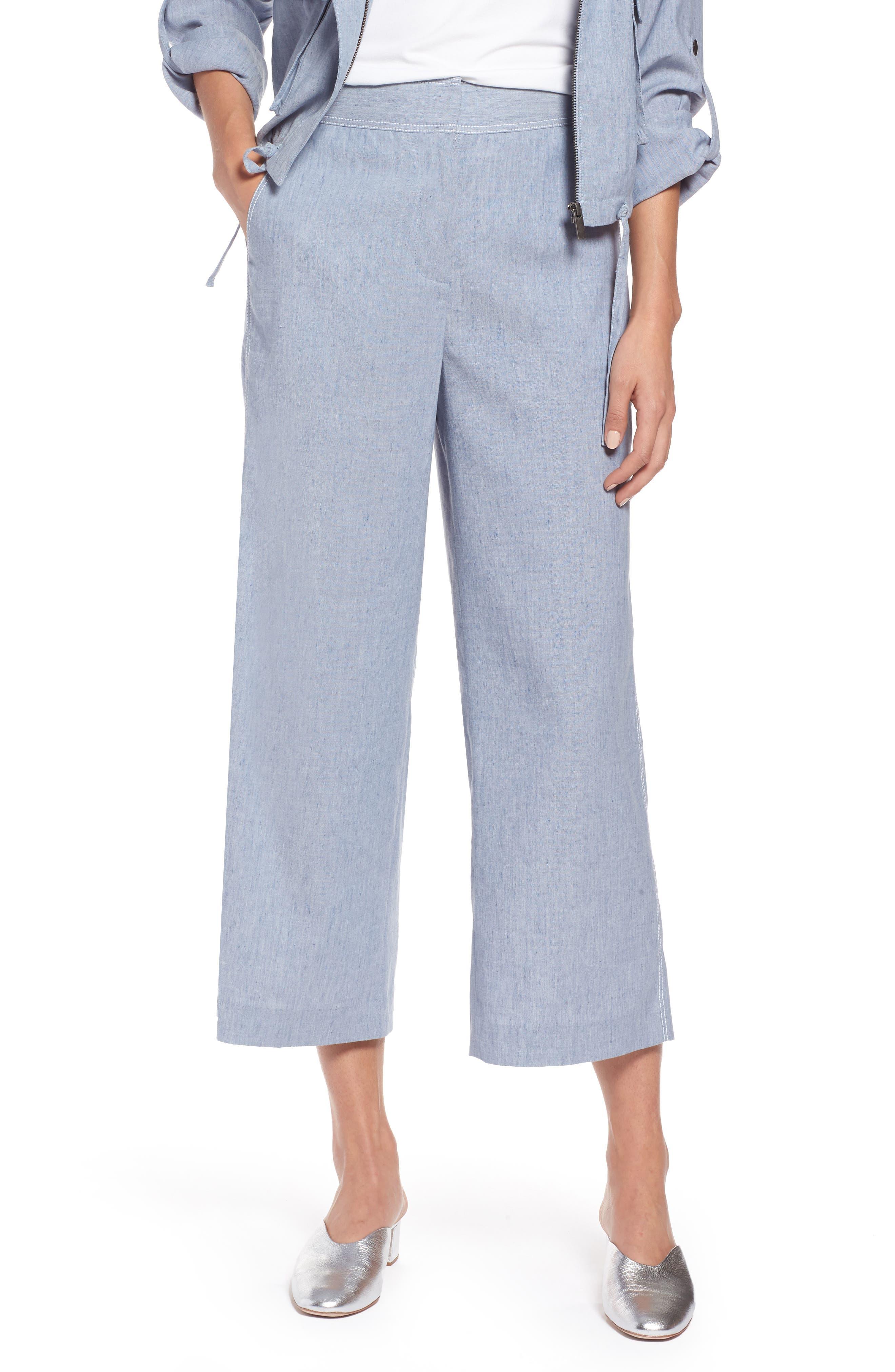Wide Leg Linen Blend Pants,                         Main,                         color, Chambray