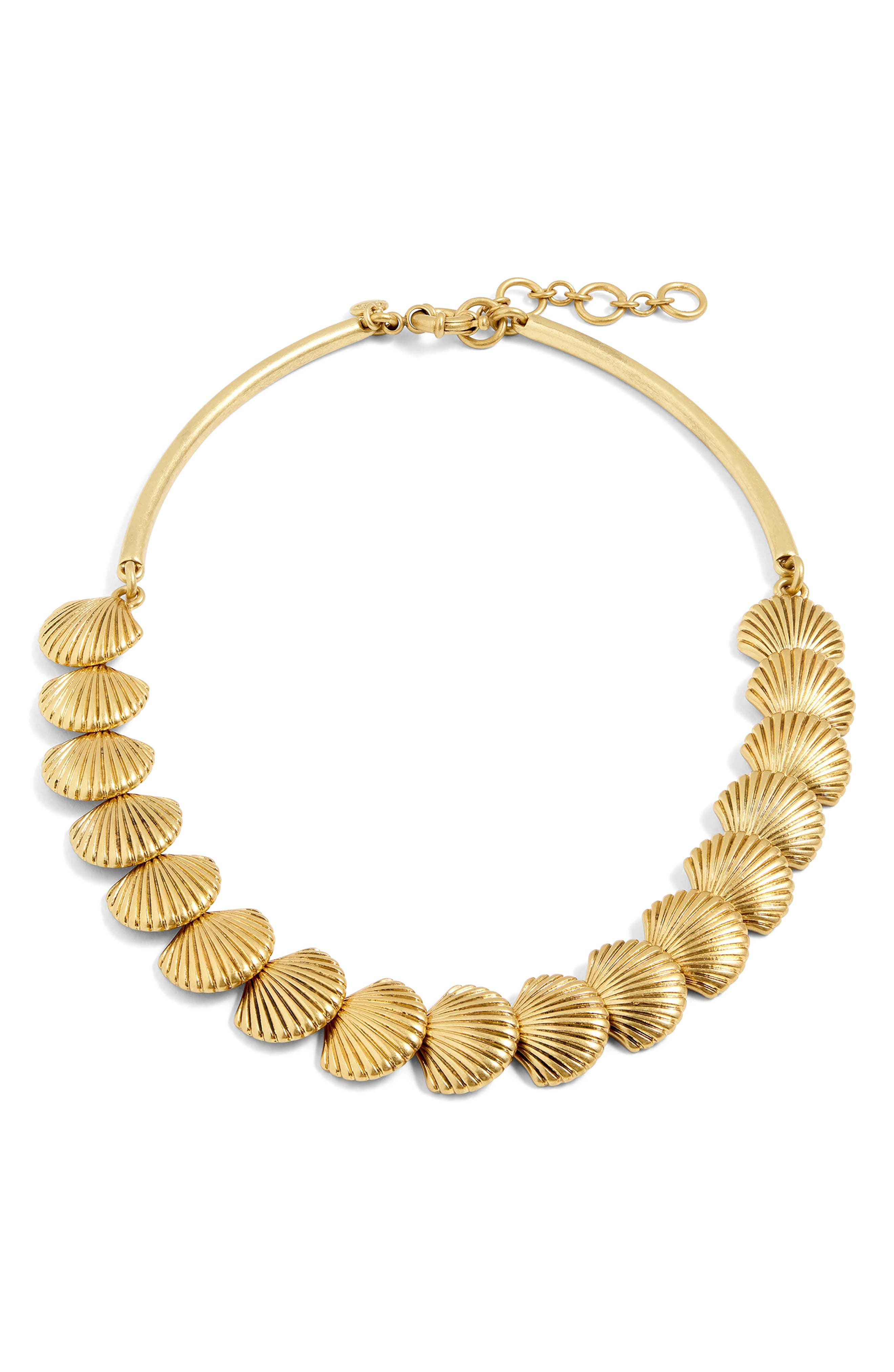 Seashell Collar Necklace,                             Alternate thumbnail 2, color,                             Antique Gold