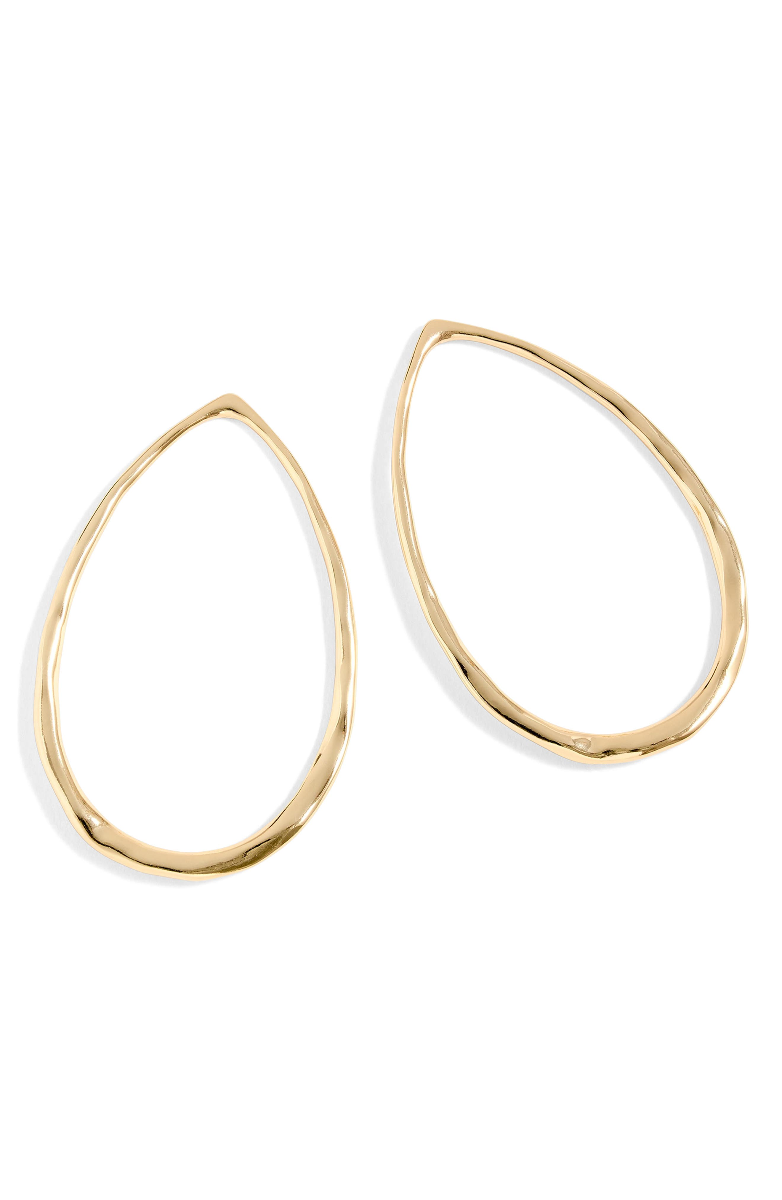 Hammered Teardrop Hoop Earrings,                             Main thumbnail 1, color,                             Burnished Gold