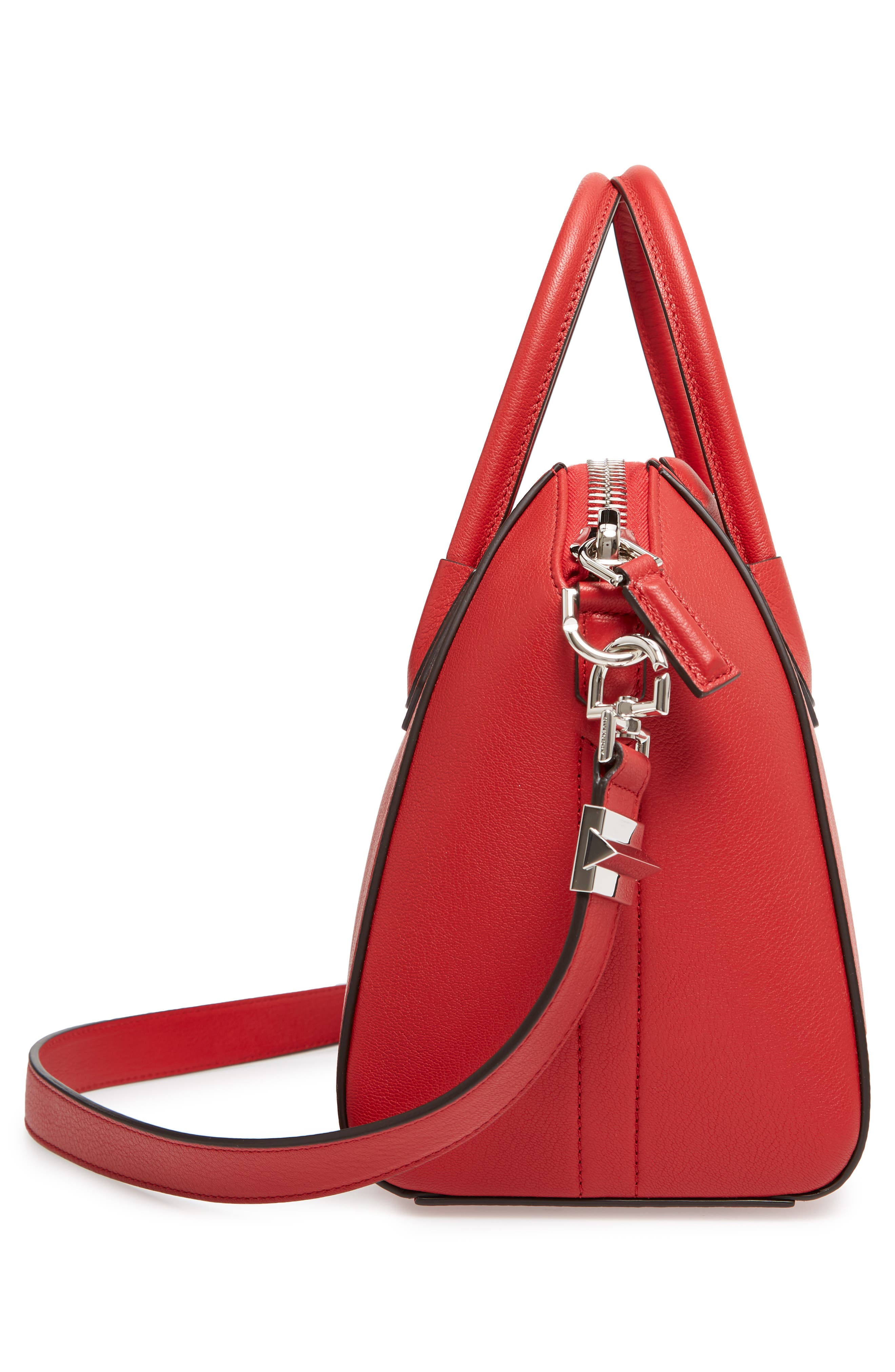 'Small Antigona' Leather Satchel,                             Alternate thumbnail 4, color,                             Bright Red
