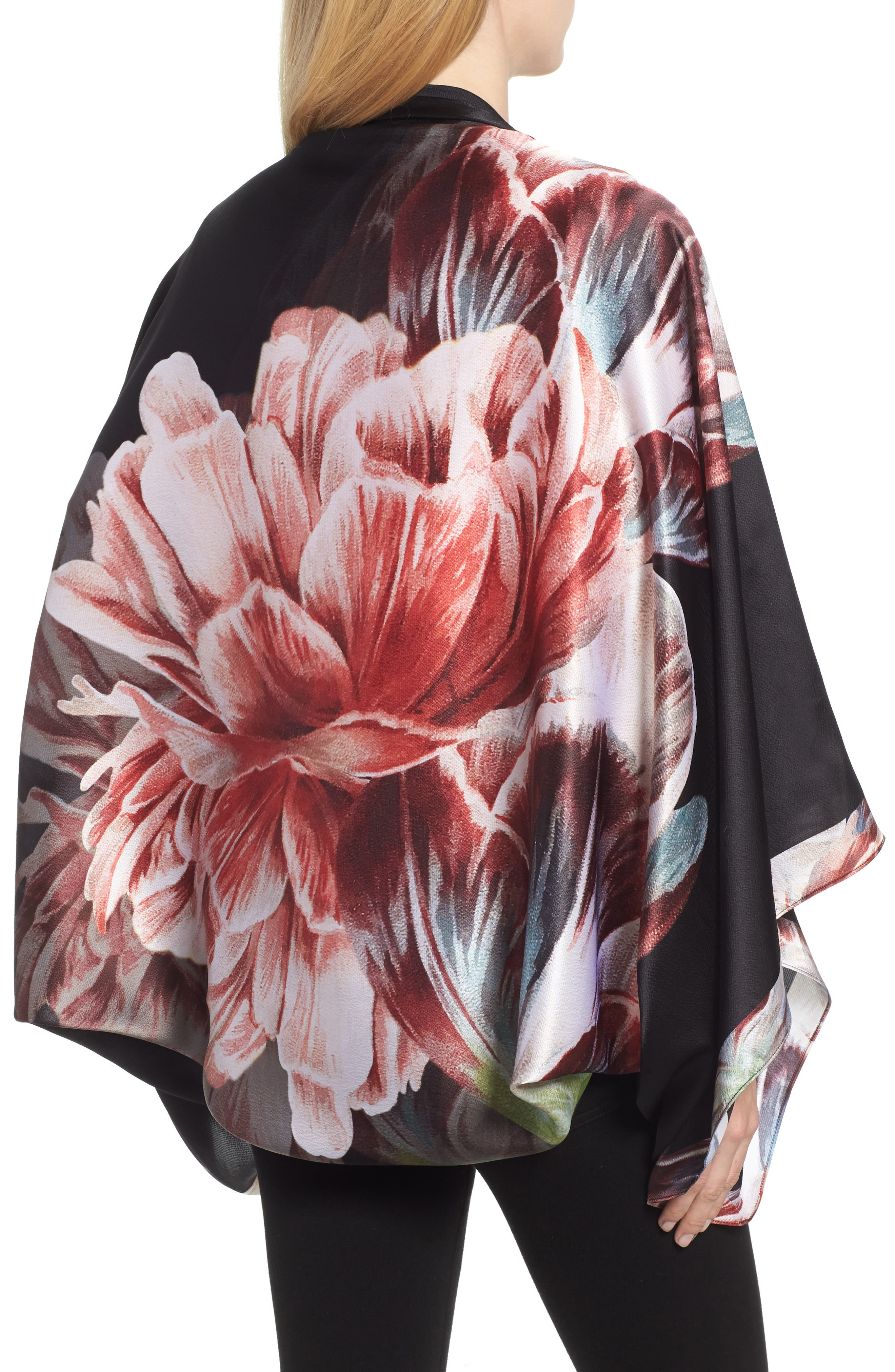 Tranquility Silk Cape Scarf,                             Alternate thumbnail 2, color,                             Black