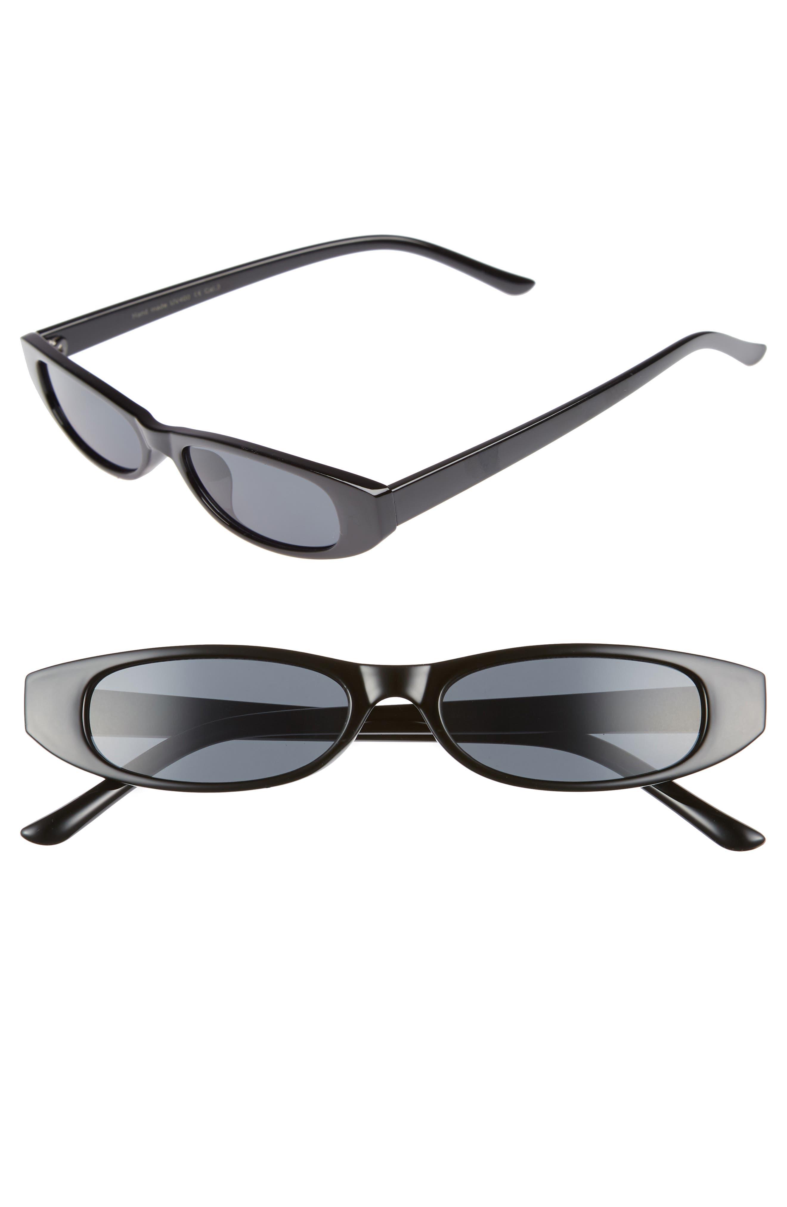 50mm Geometric Sunglasses,                             Main thumbnail 1, color,                             Black