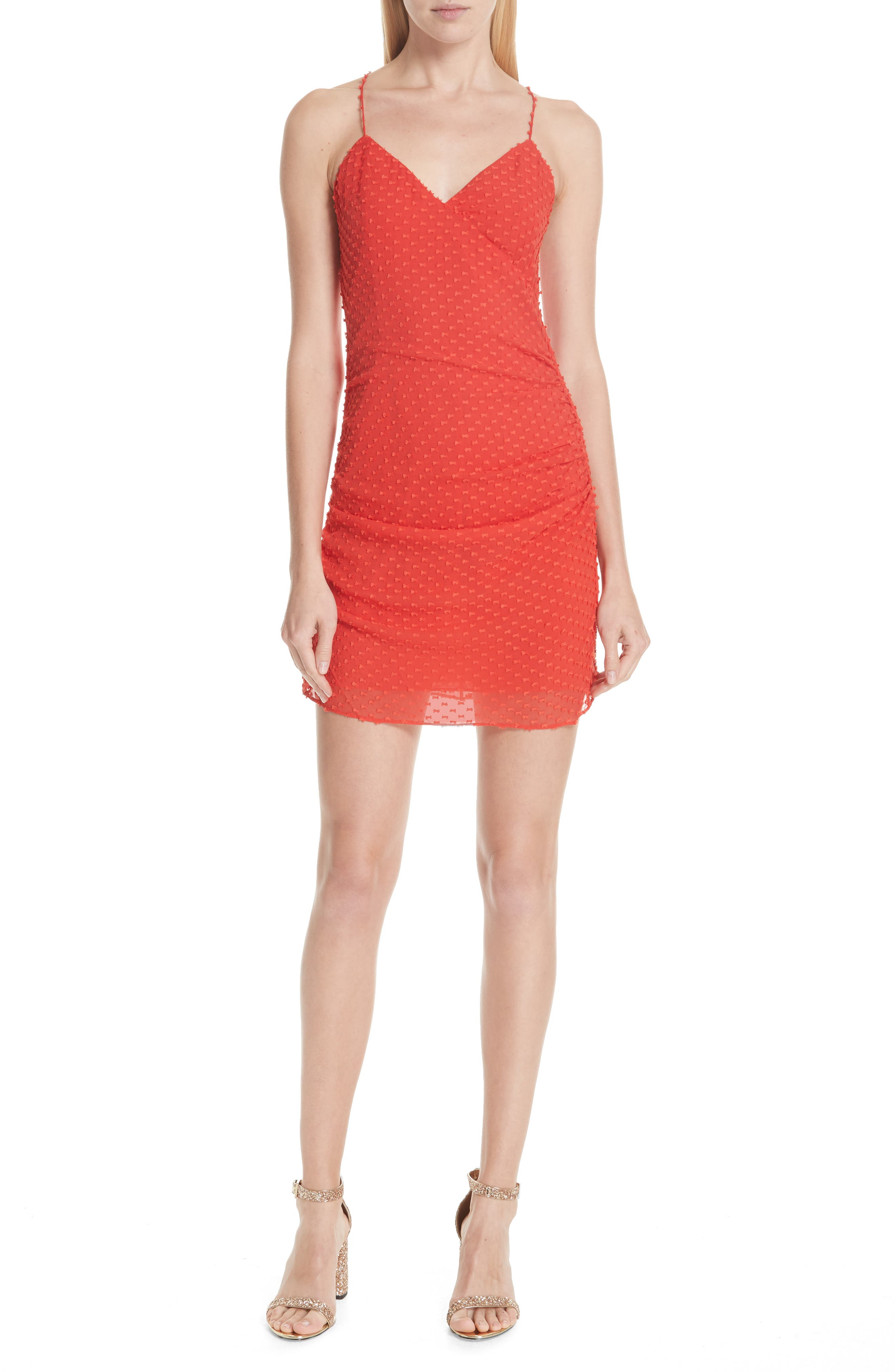 Daria Ruched Flare Silk Cotton Dress,                             Main thumbnail 1, color,                             Perfect Poppy