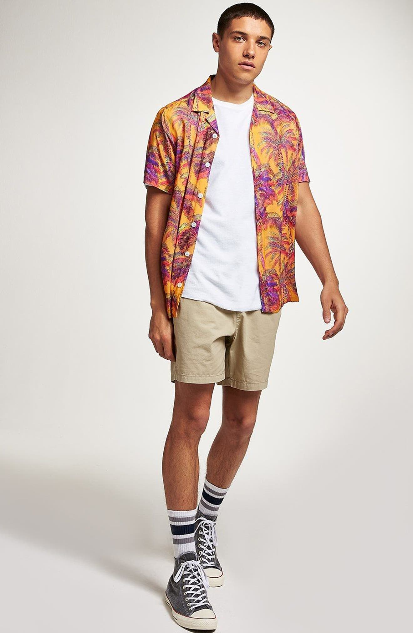 Palm Print Camp Shirt,                             Alternate thumbnail 2, color,                             Orange Multi