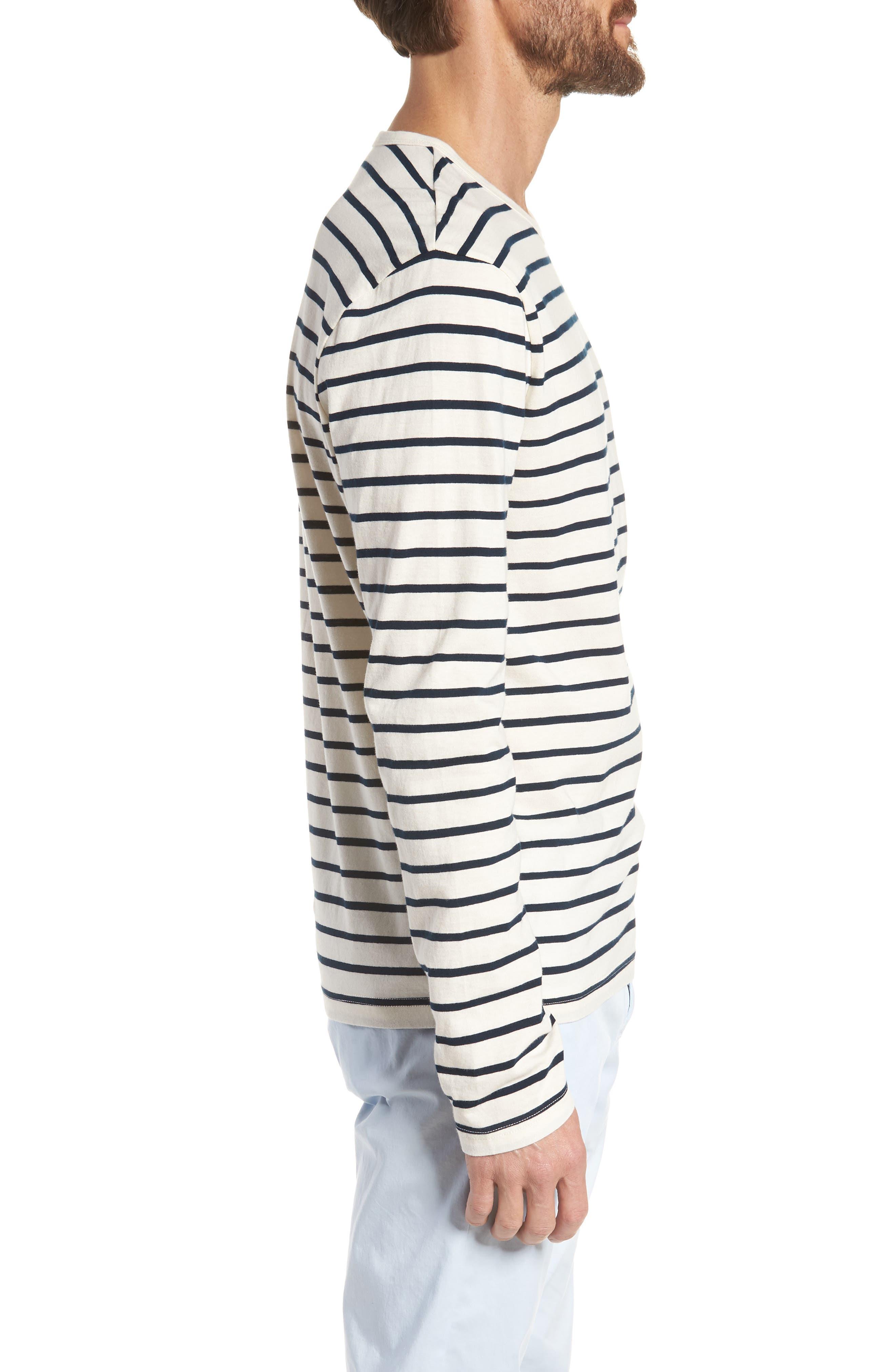 Mercantile Stripe Long Sleeve T-Shirt,                             Alternate thumbnail 3, color,                             Mountain White