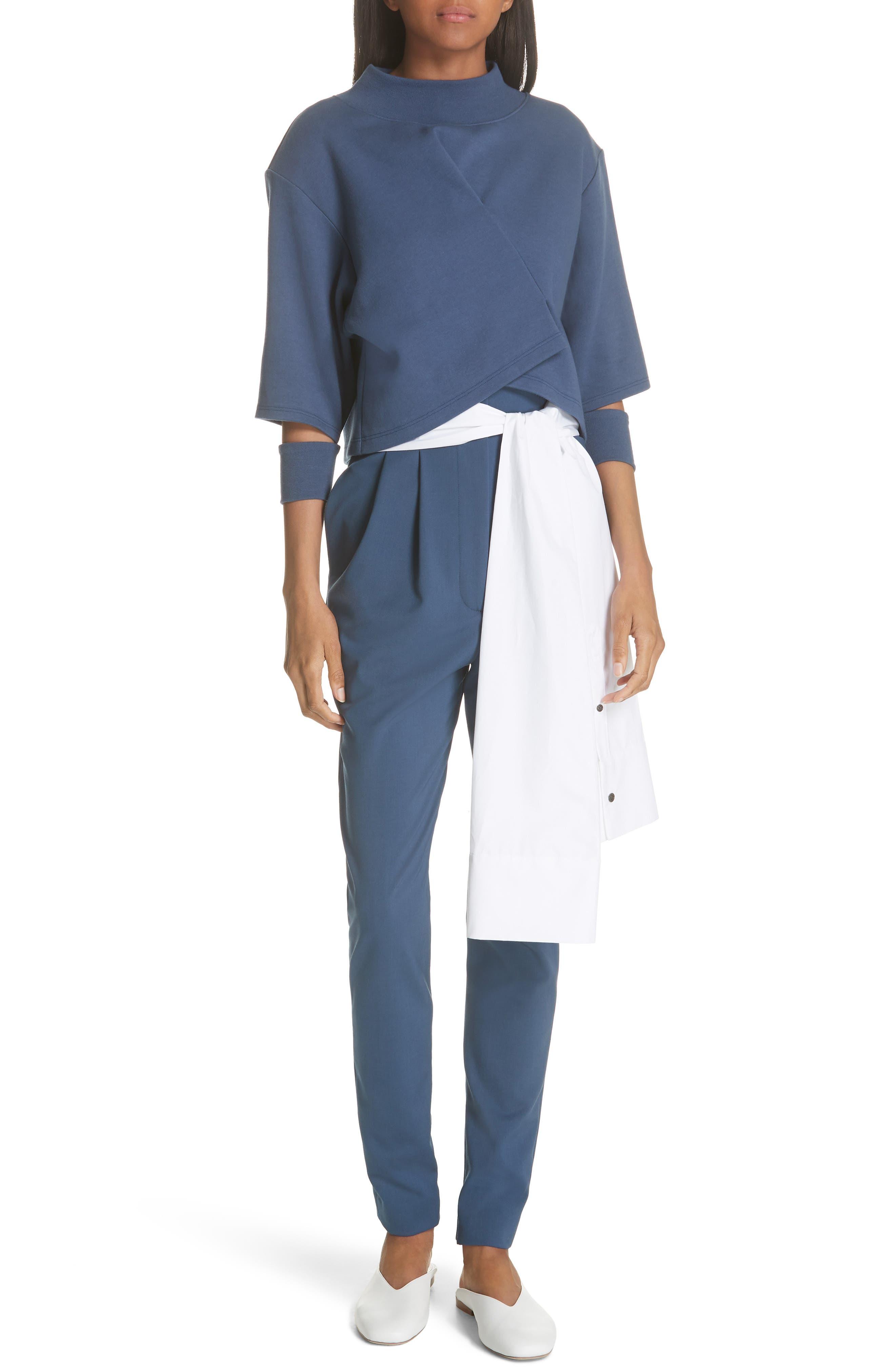 Tie Waist Paperbag Pants,                             Alternate thumbnail 7, color,                             Blue