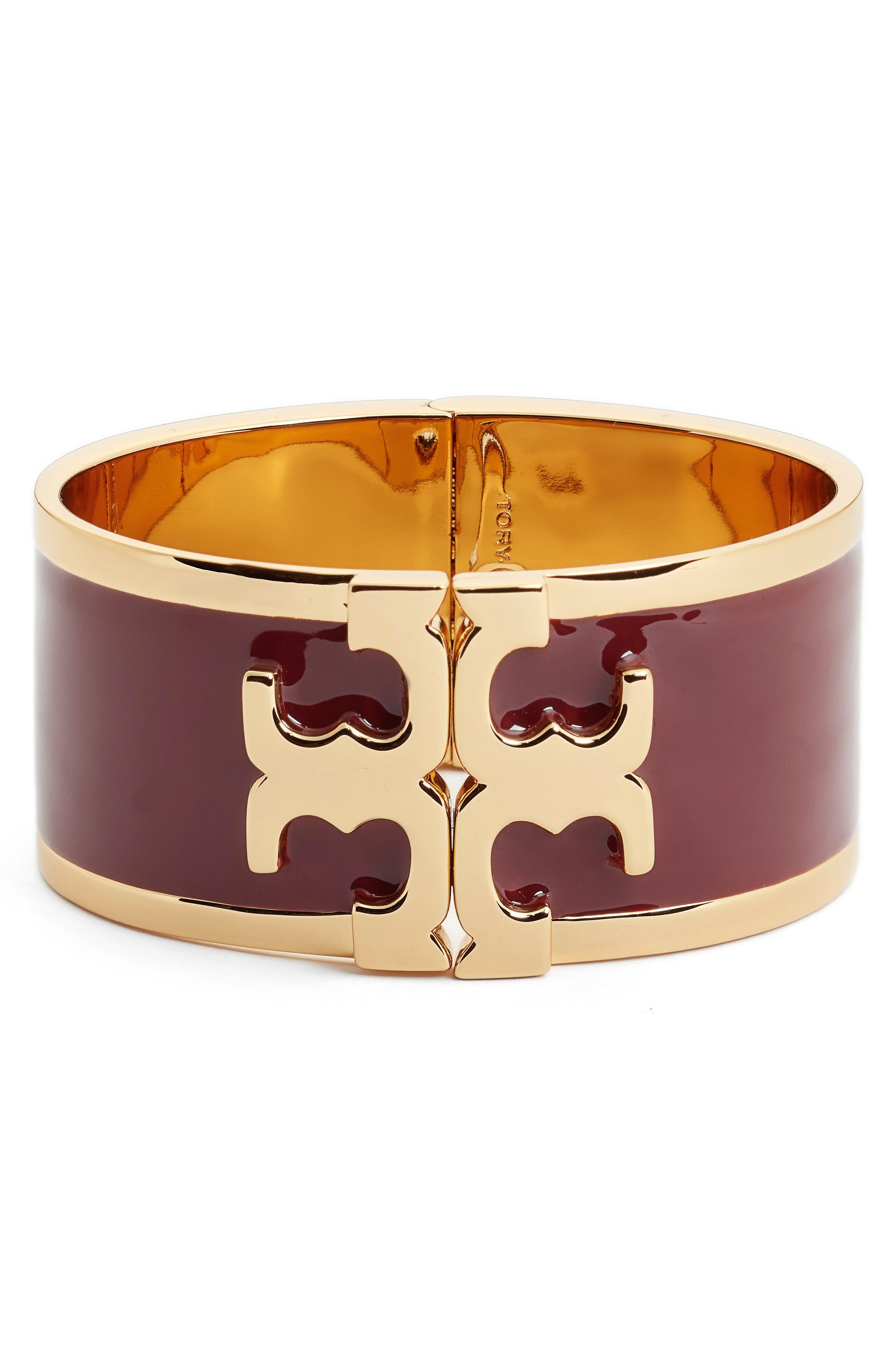 Enamel Logo Bracelet,                             Main thumbnail 1, color,                             Tuscan Wine/ Tory Gold