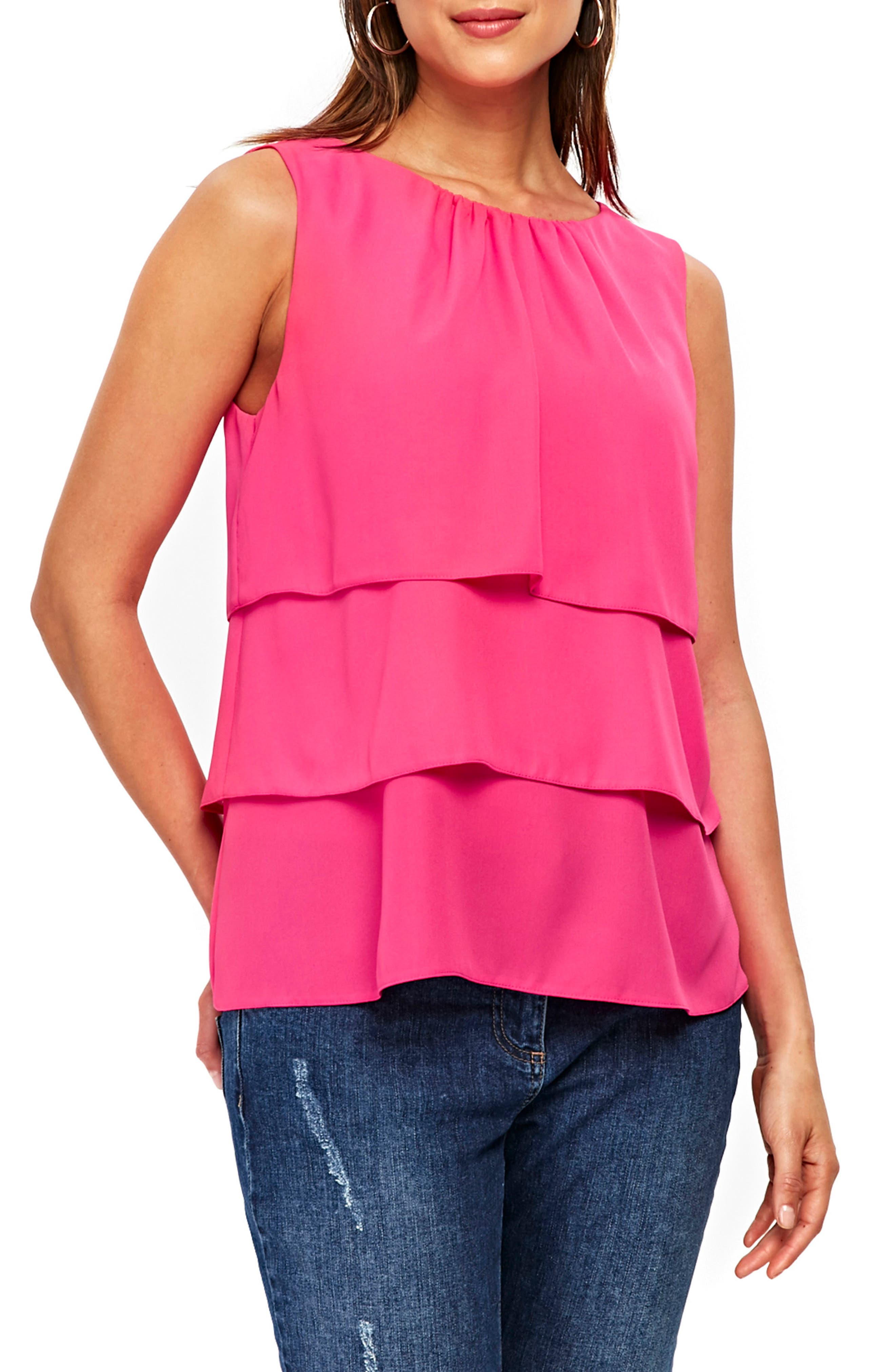 Tiered Sleeveless Top,                         Main,                         color, Bright Pink