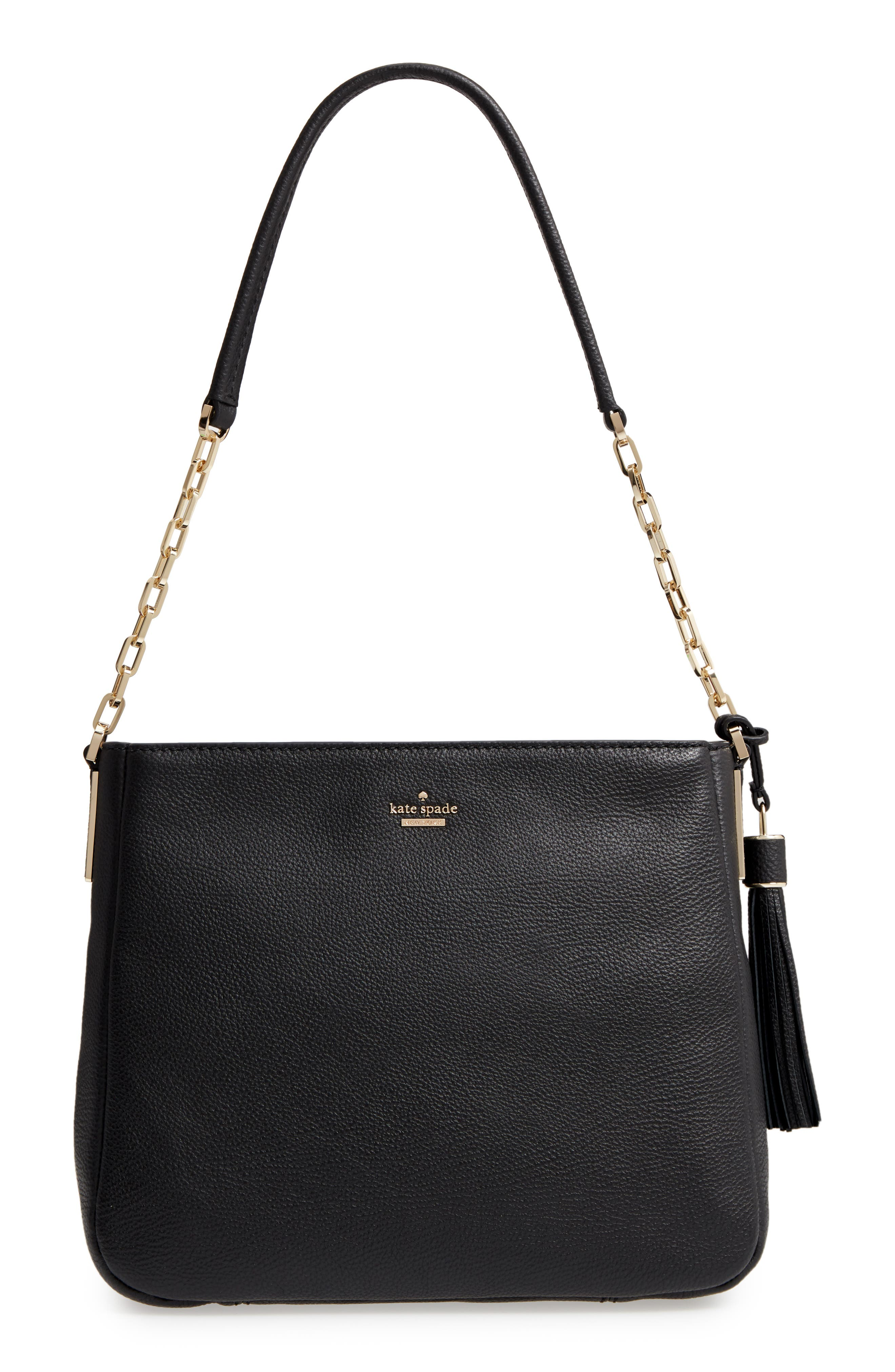 kingston drive - shannon leather tote,                             Main thumbnail 1, color,                             Black