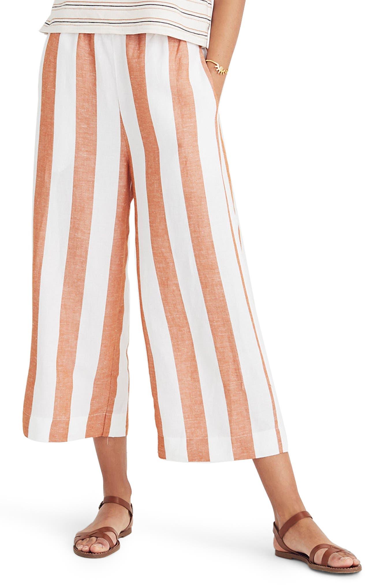 Huston Stripe Crop Pants,                         Main,                         color, Burnt Orange