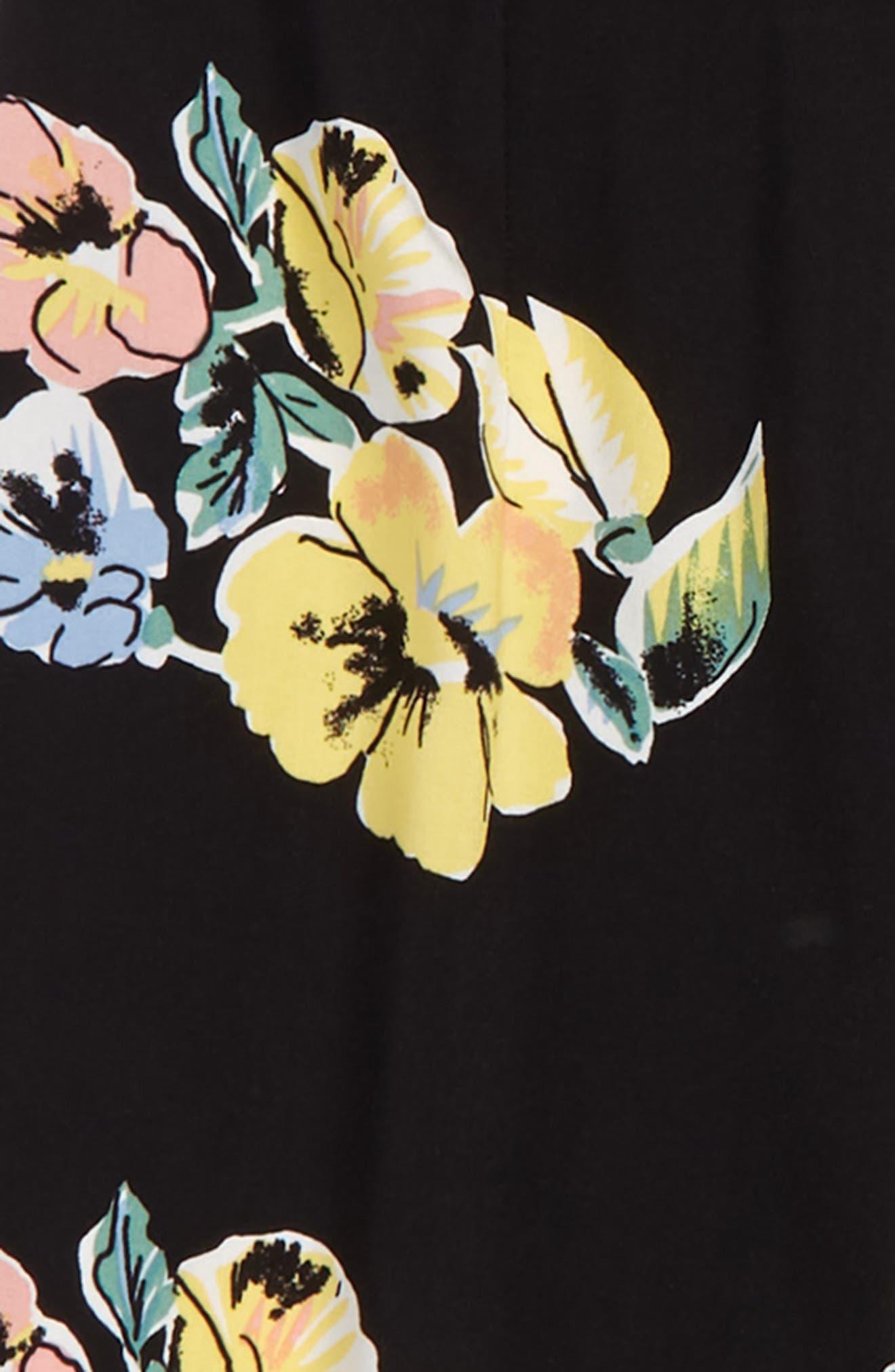 Print Knot Back Romper,                             Alternate thumbnail 3, color,                             Black Olive Floral