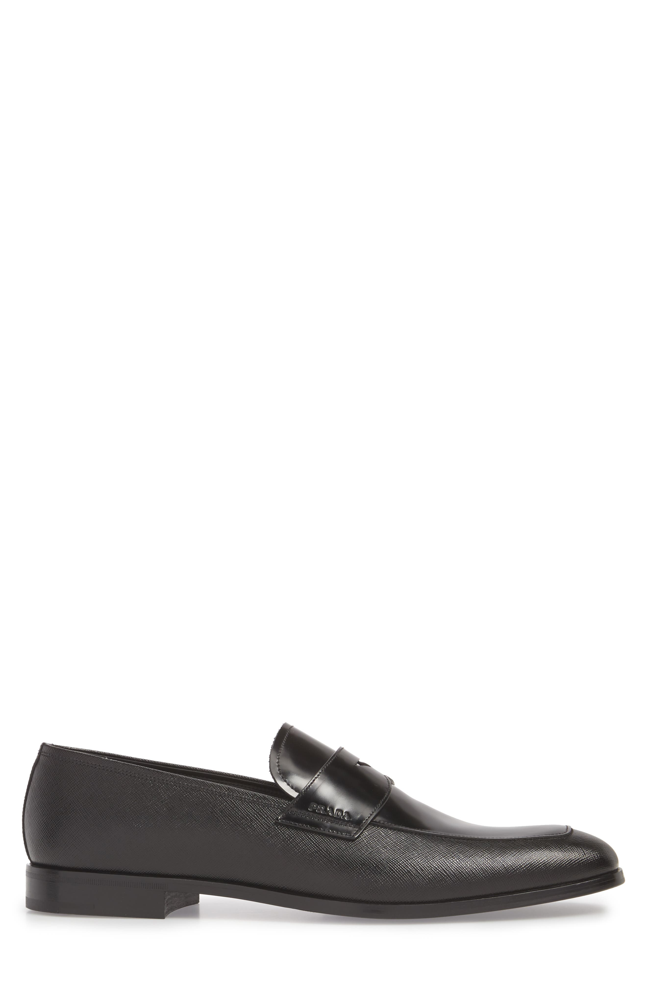 Saffiano Leather Penny Loafer,                             Alternate thumbnail 3, color,                             Nero