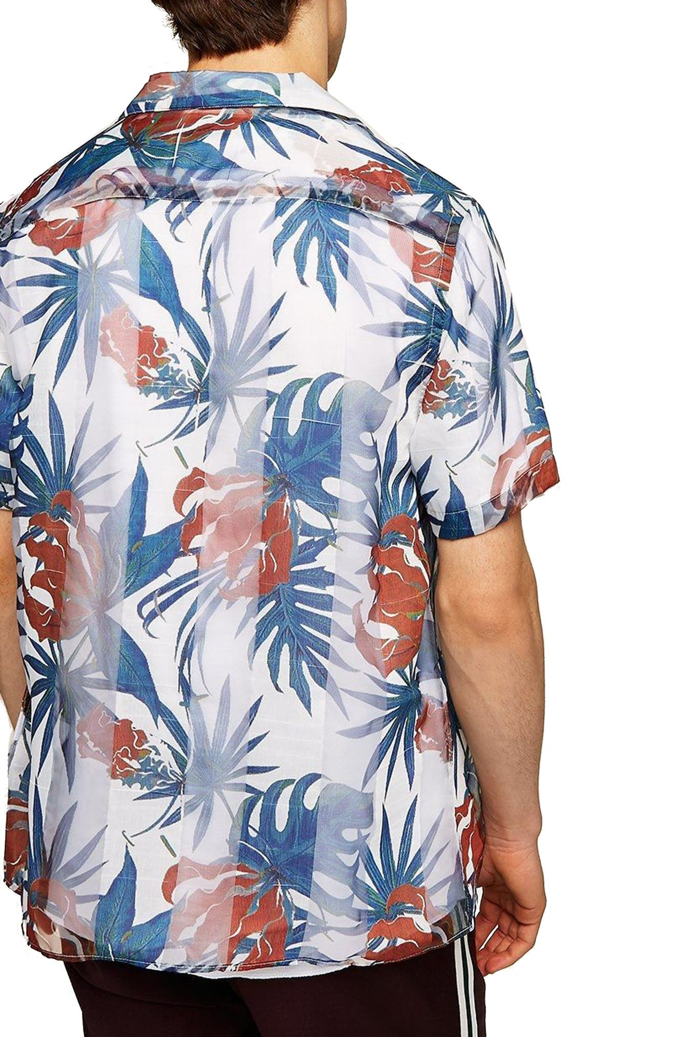 Palm Print Shirt,                             Alternate thumbnail 3, color,                             White Multi
