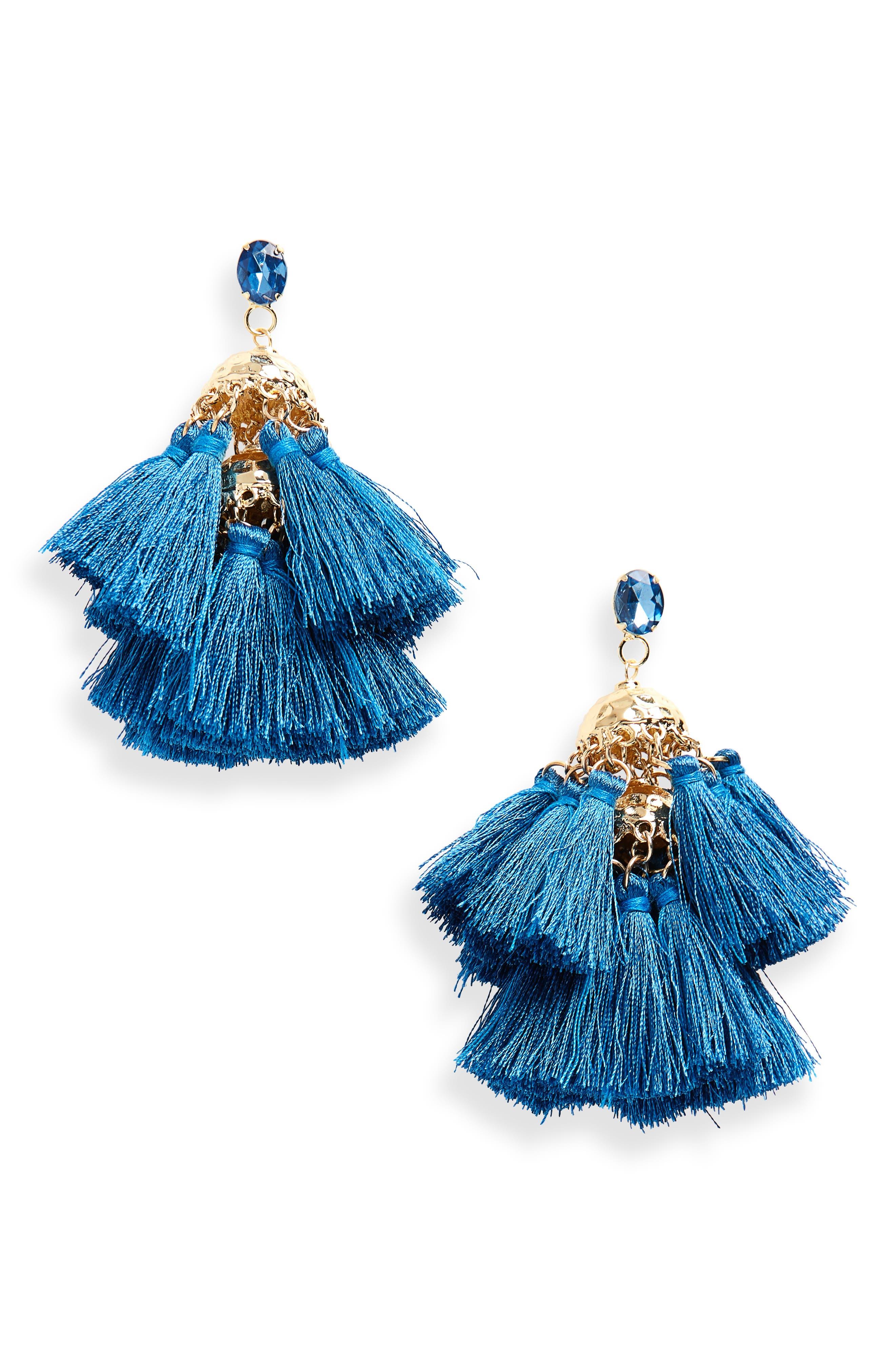 Hammered Charm & Tassel Earrings,                             Main thumbnail 1, color,                             Gold/ Blue