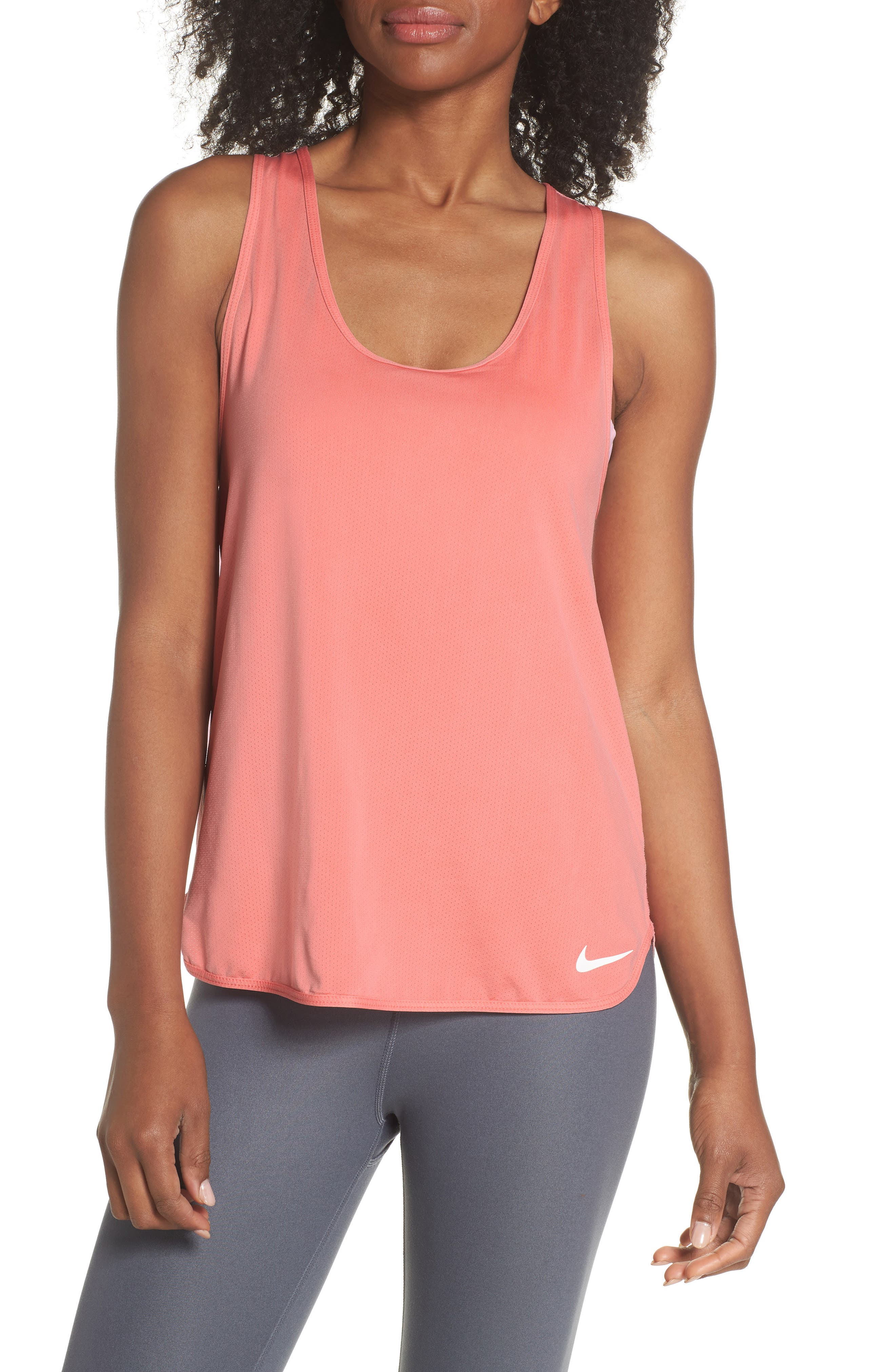 Pro Dry Vintage Tank,                         Main,                         color, Rush Coral/ White
