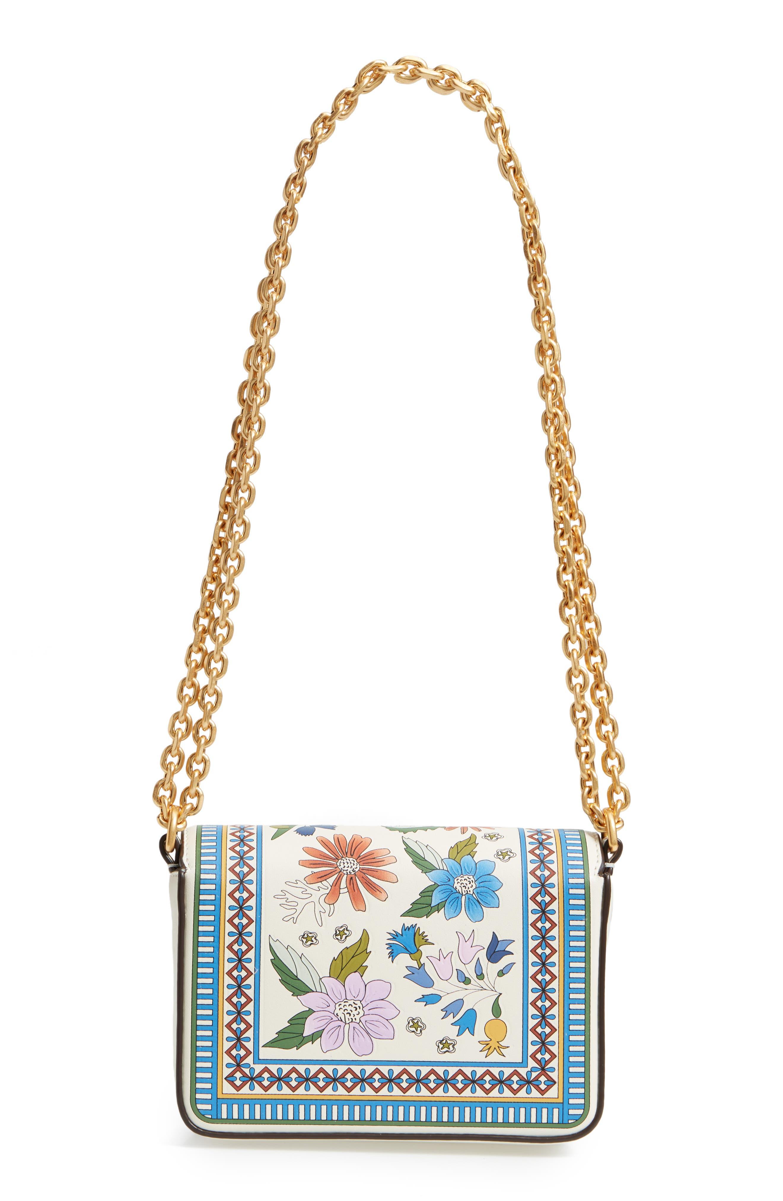 Mini Kira Floral Print Leather Bag,                             Alternate thumbnail 3, color,                             Ivory Meadow Sweet