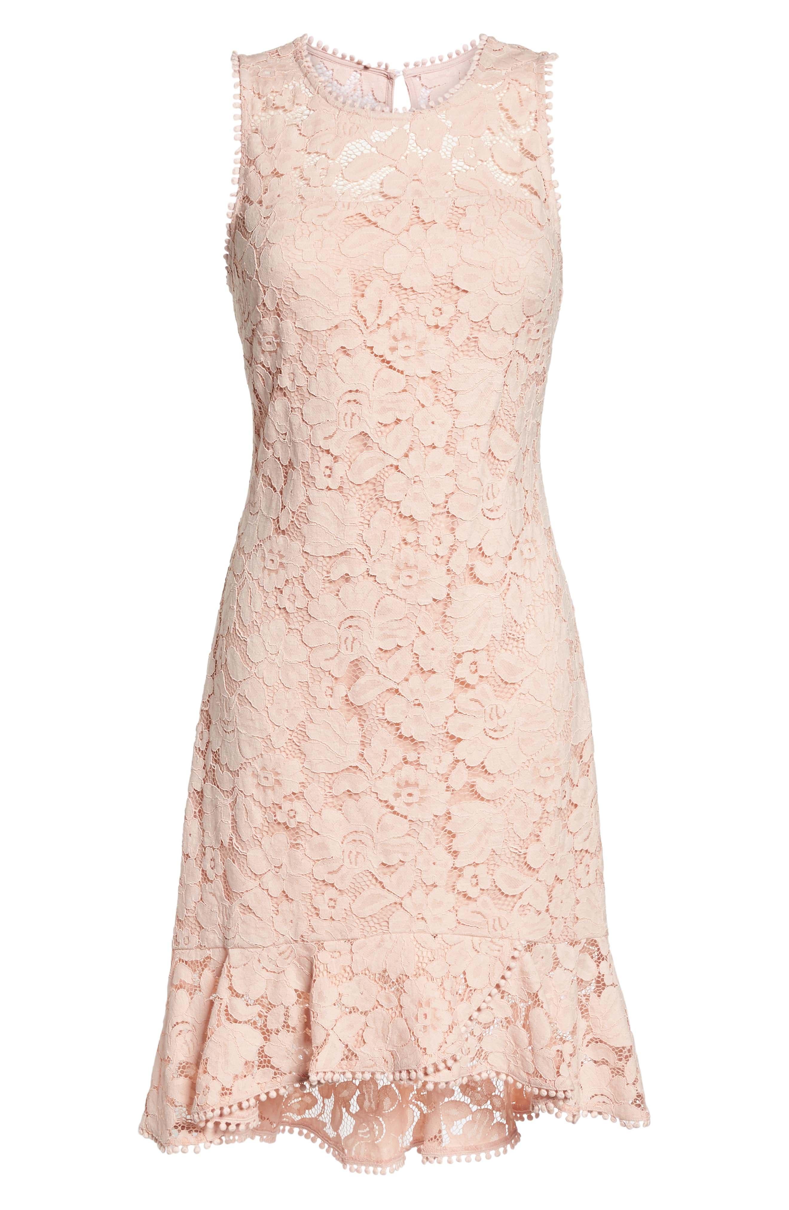 Sleeveless Lace Sheath Dress,                             Alternate thumbnail 7, color,                             Blush