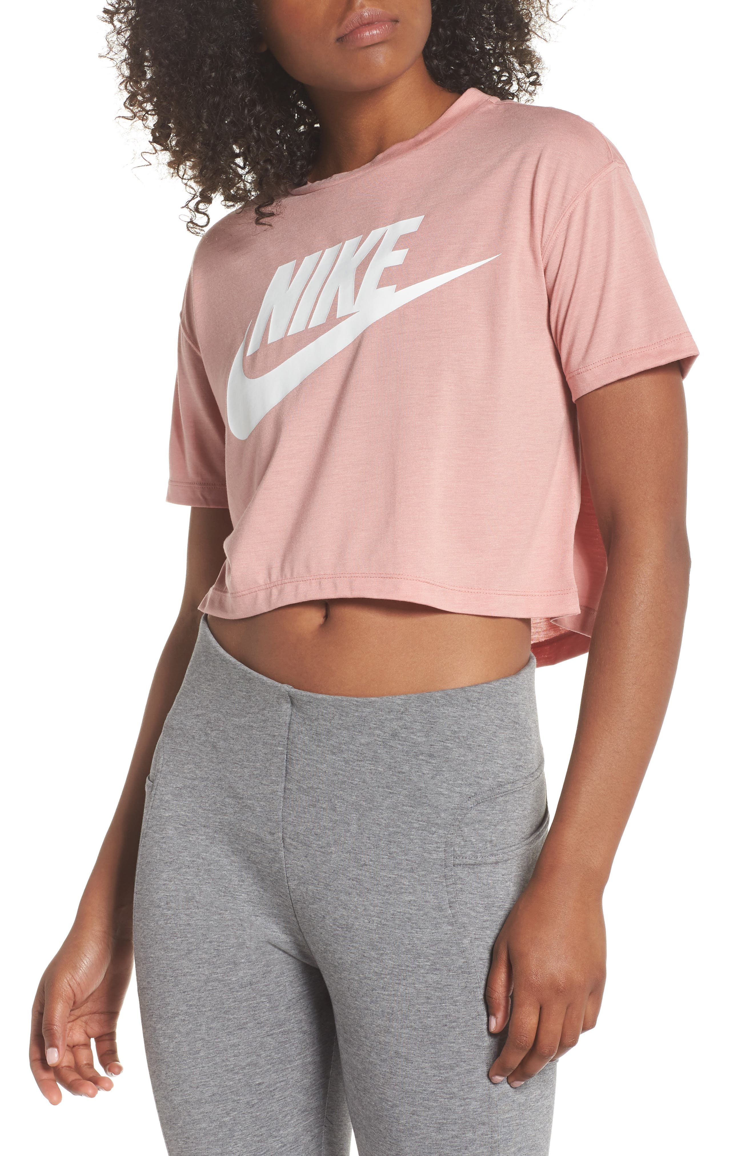 Sportswear Crop Top,                         Main,                         color, Rust Pink/ White