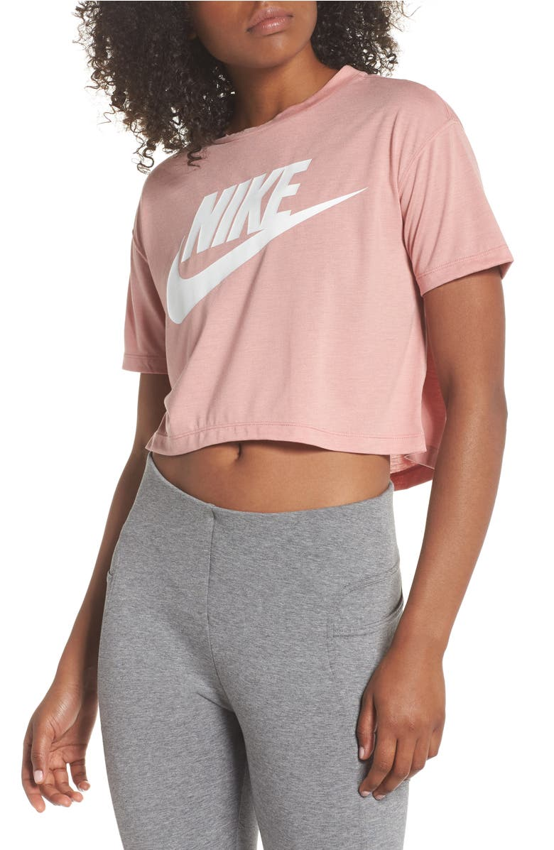 67abf79ee6 Nike Essential Logo Cropped Tee In Rust Pink  White