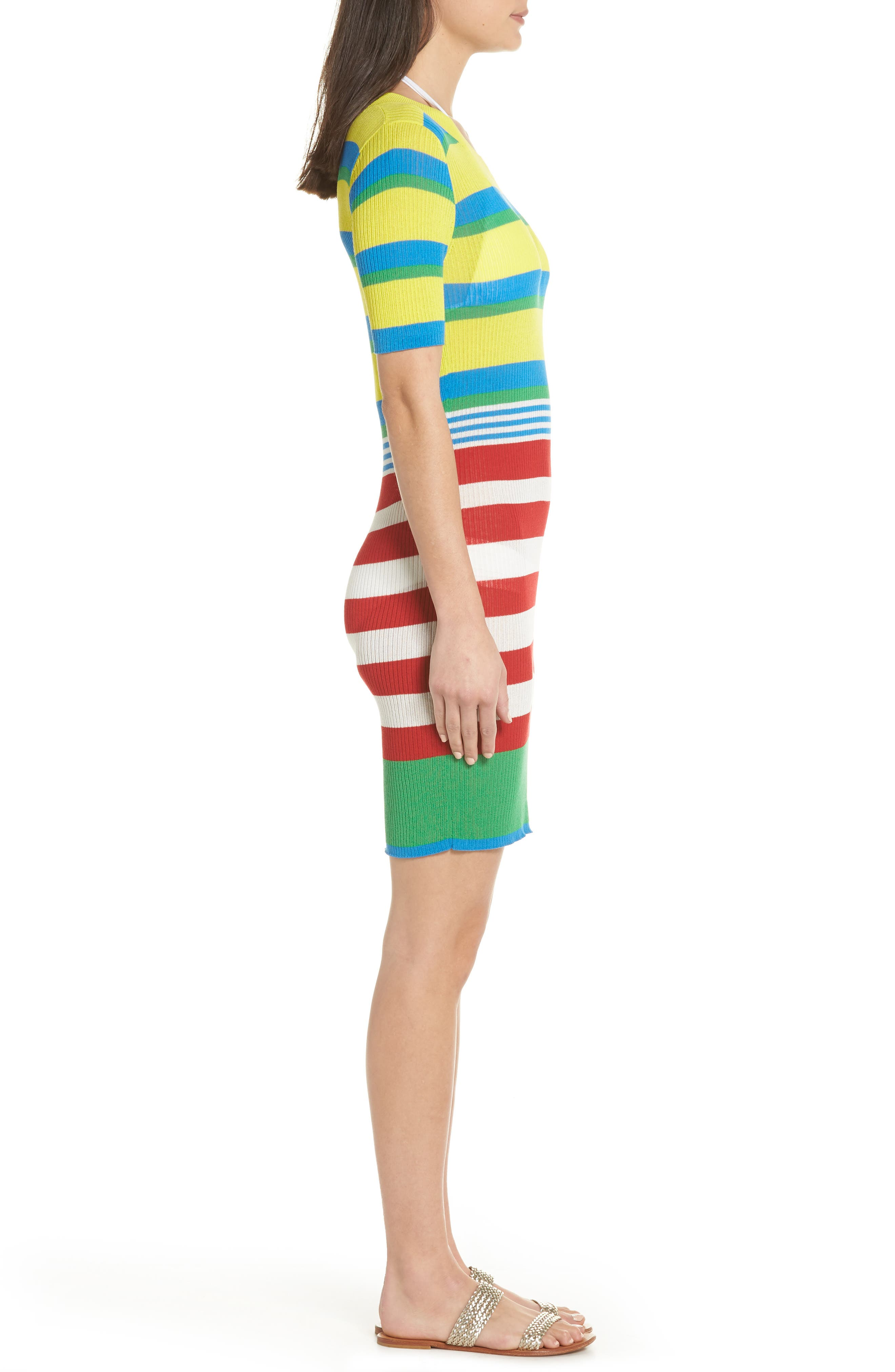 DVF Stripe Ribbed Cover-Up Sweater Dress,                             Alternate thumbnail 3, color,                             Cadmium Multi