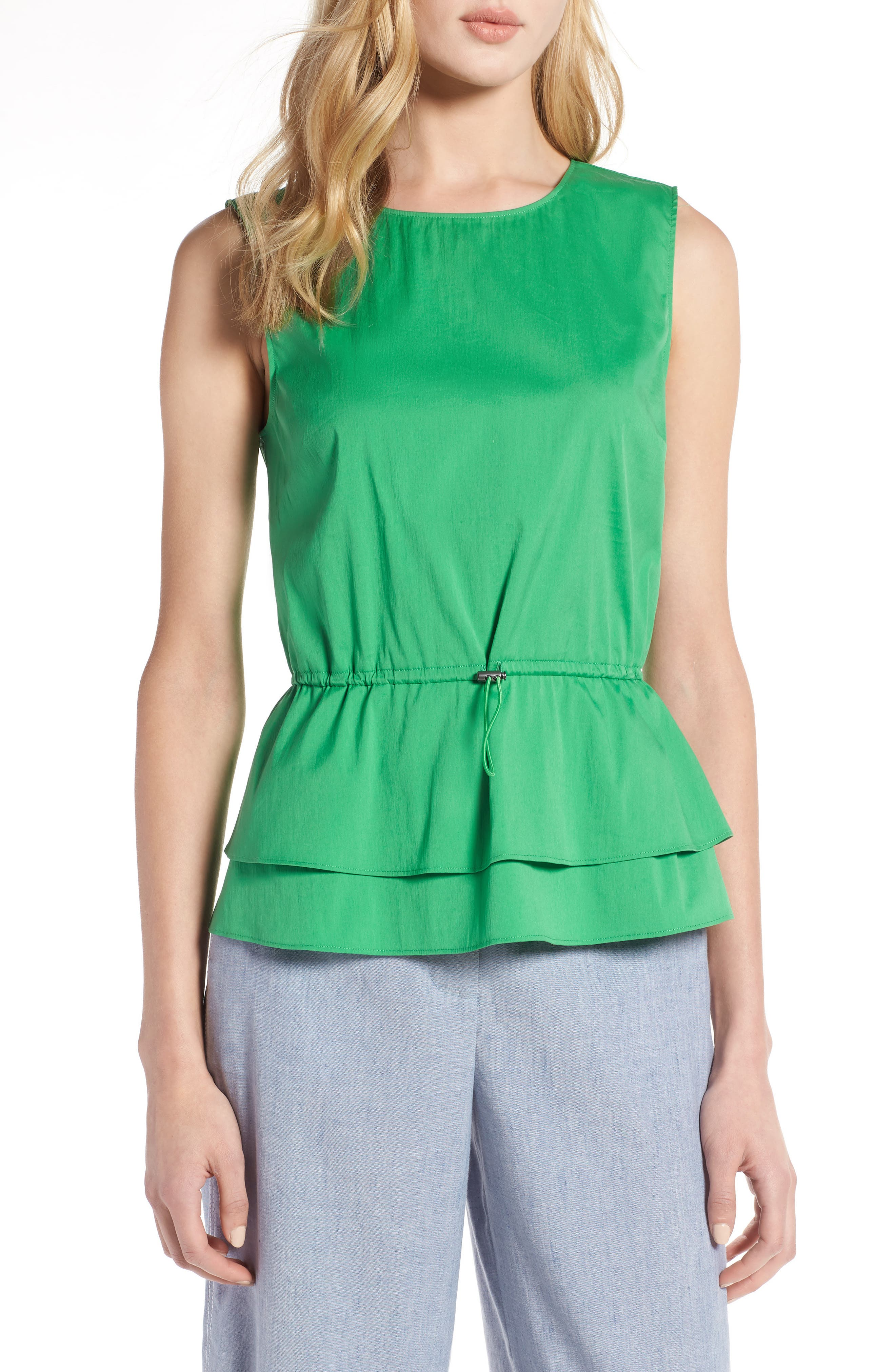Stretch Cotton Blend Peplum Top,                             Main thumbnail 1, color,                             Green Kelly