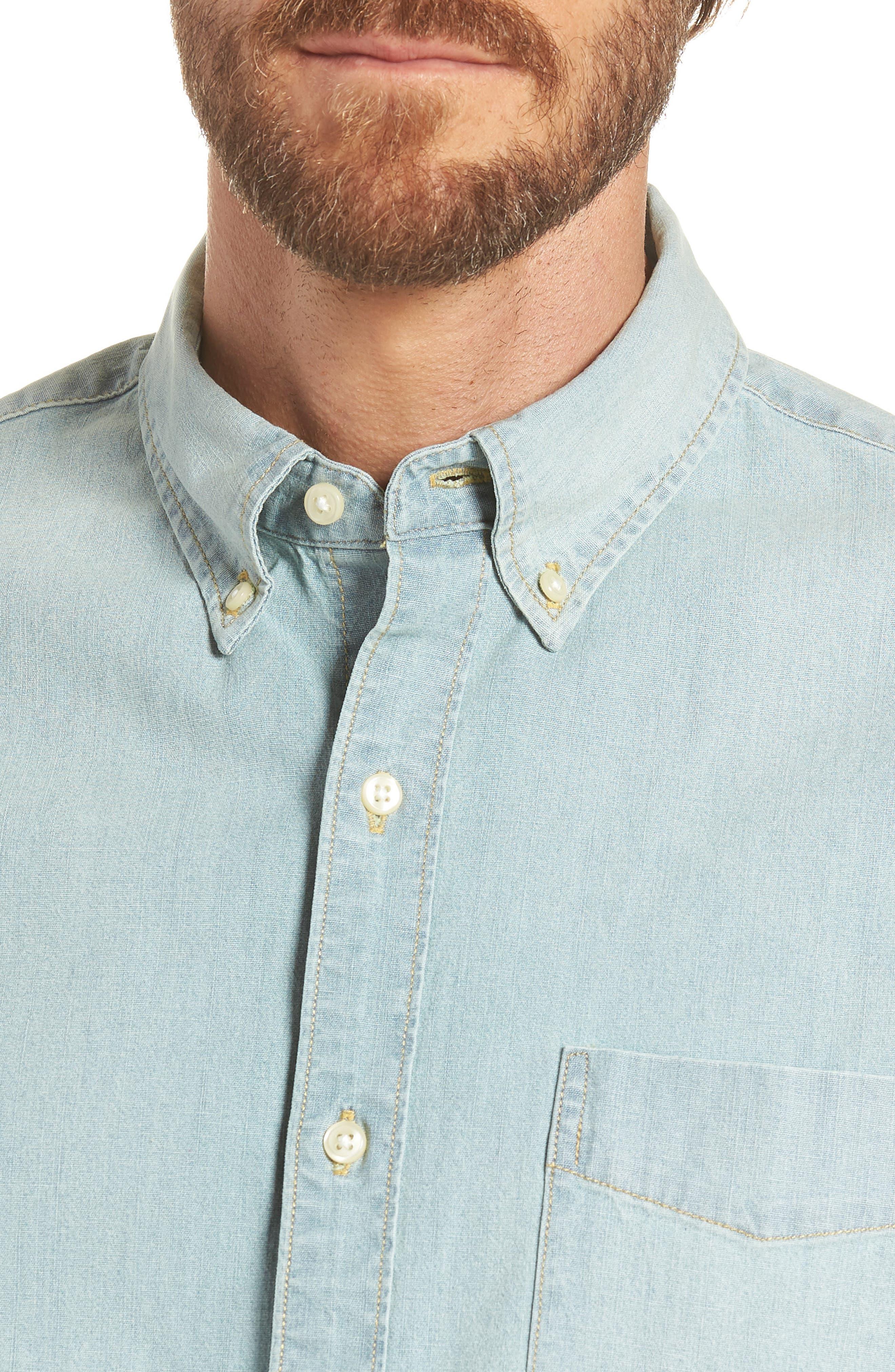 Slim Fit Stretch Chambray Shirt,                             Alternate thumbnail 2, color,                             Indigo