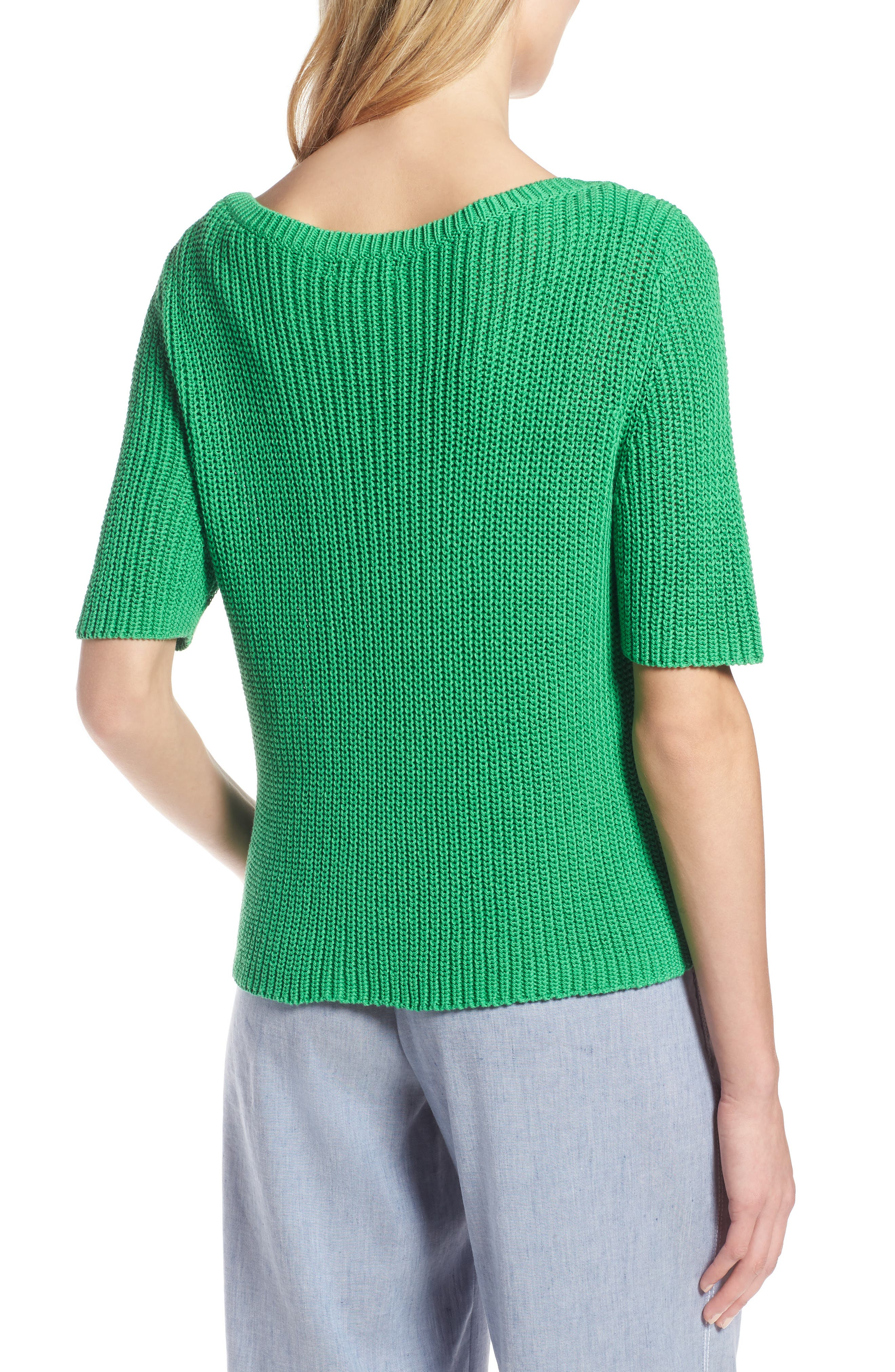 Shaker Stitch Cotton Sweater,                             Alternate thumbnail 2, color,                             Green Kelly