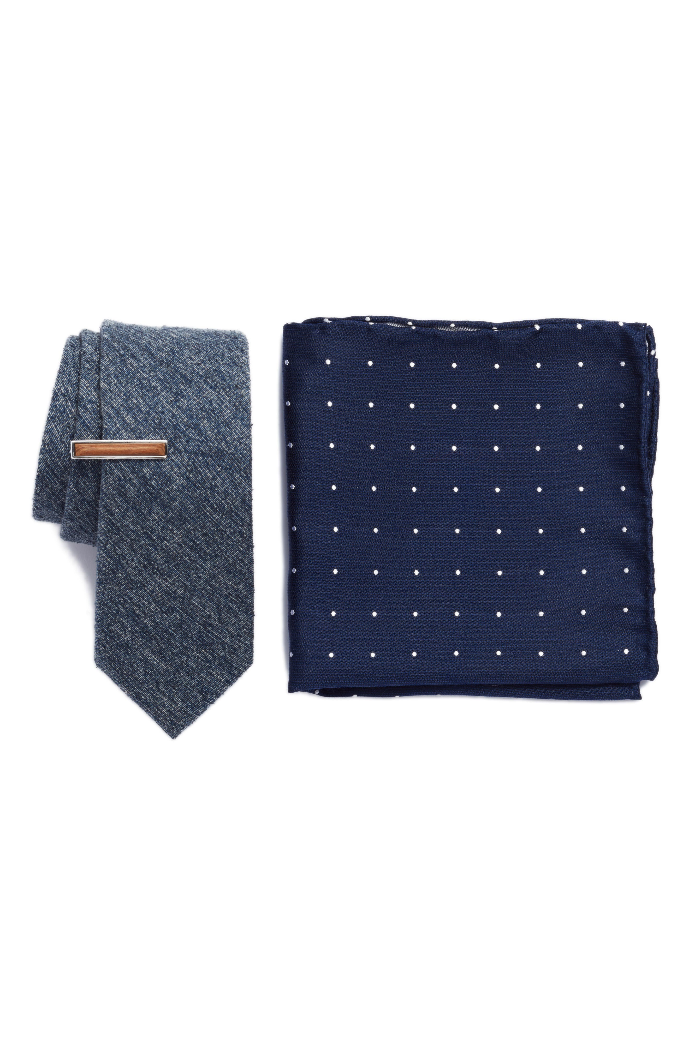 West Ridge Solid 3-Piece Skinny Tie Style Box,                         Main,                         color, Navy