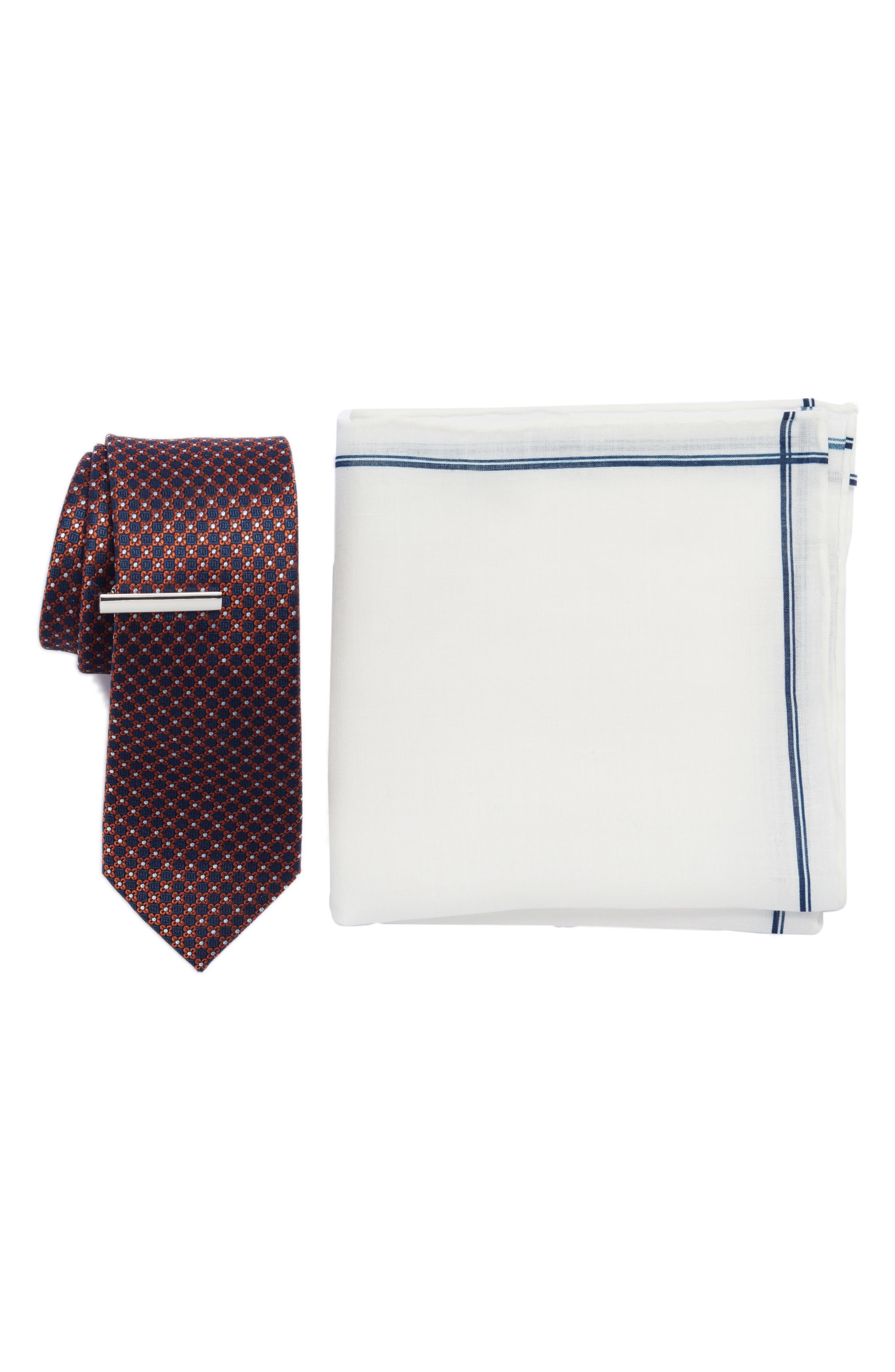 Flower Network 3-Piece Skinny Tie Style Box,                         Main,                         color, Orange