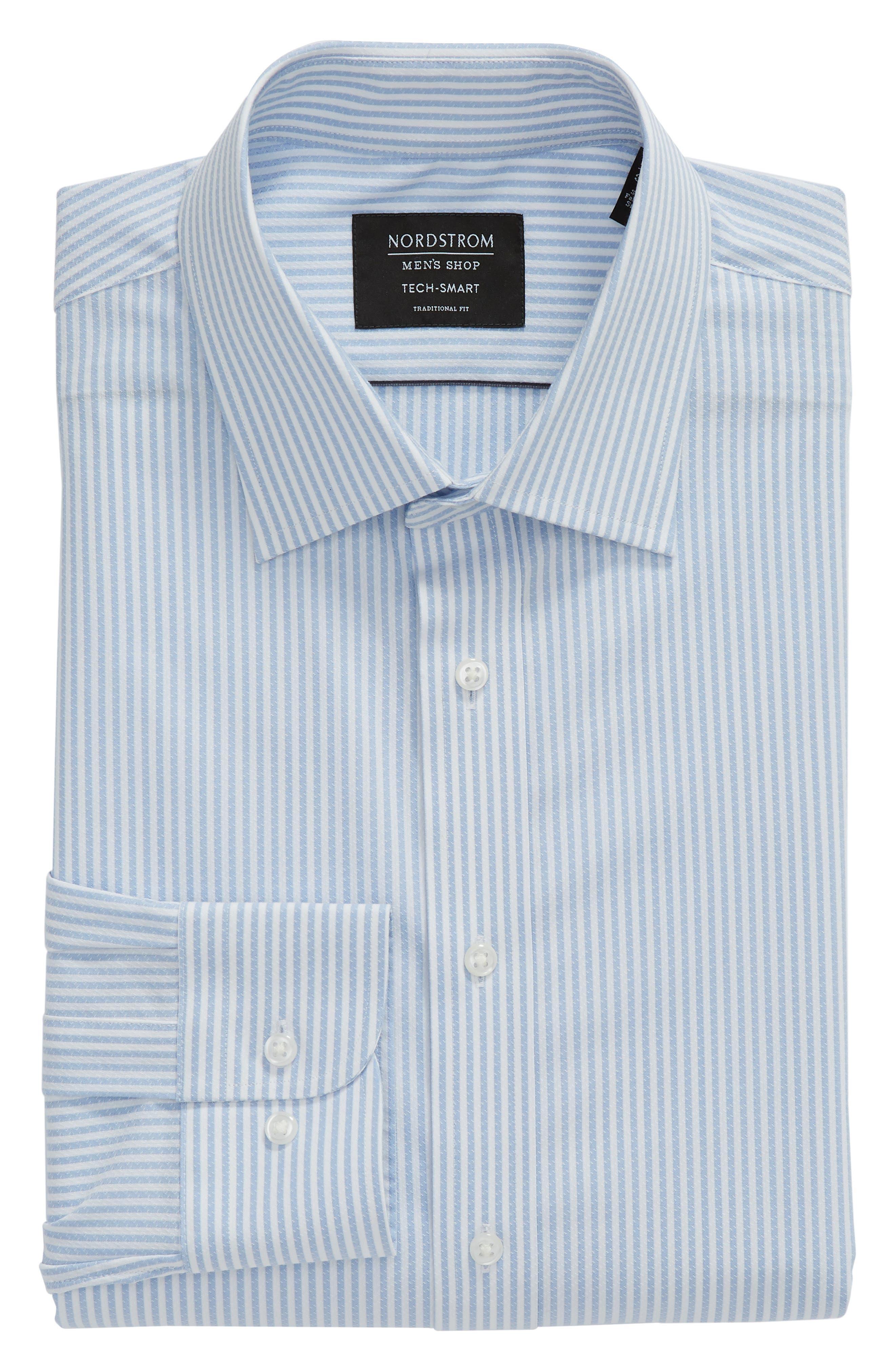 Tech-Smart Traditional Fit Stripe Stretch Dress Shirt,                             Alternate thumbnail 6, color,                             Blue Brunnera
